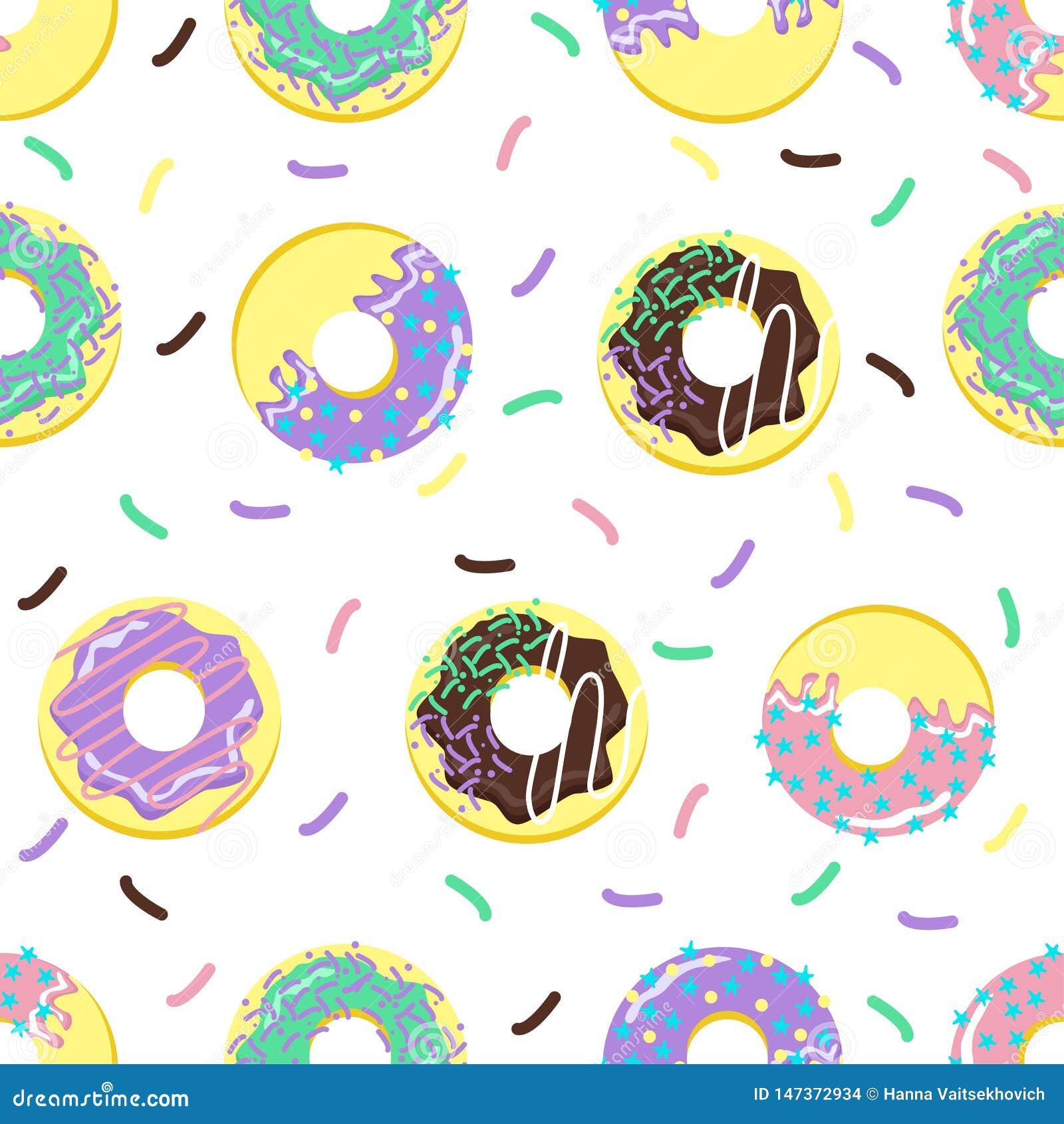 Naadloos patroon met zoete donuts - vectorillustratie, eps
