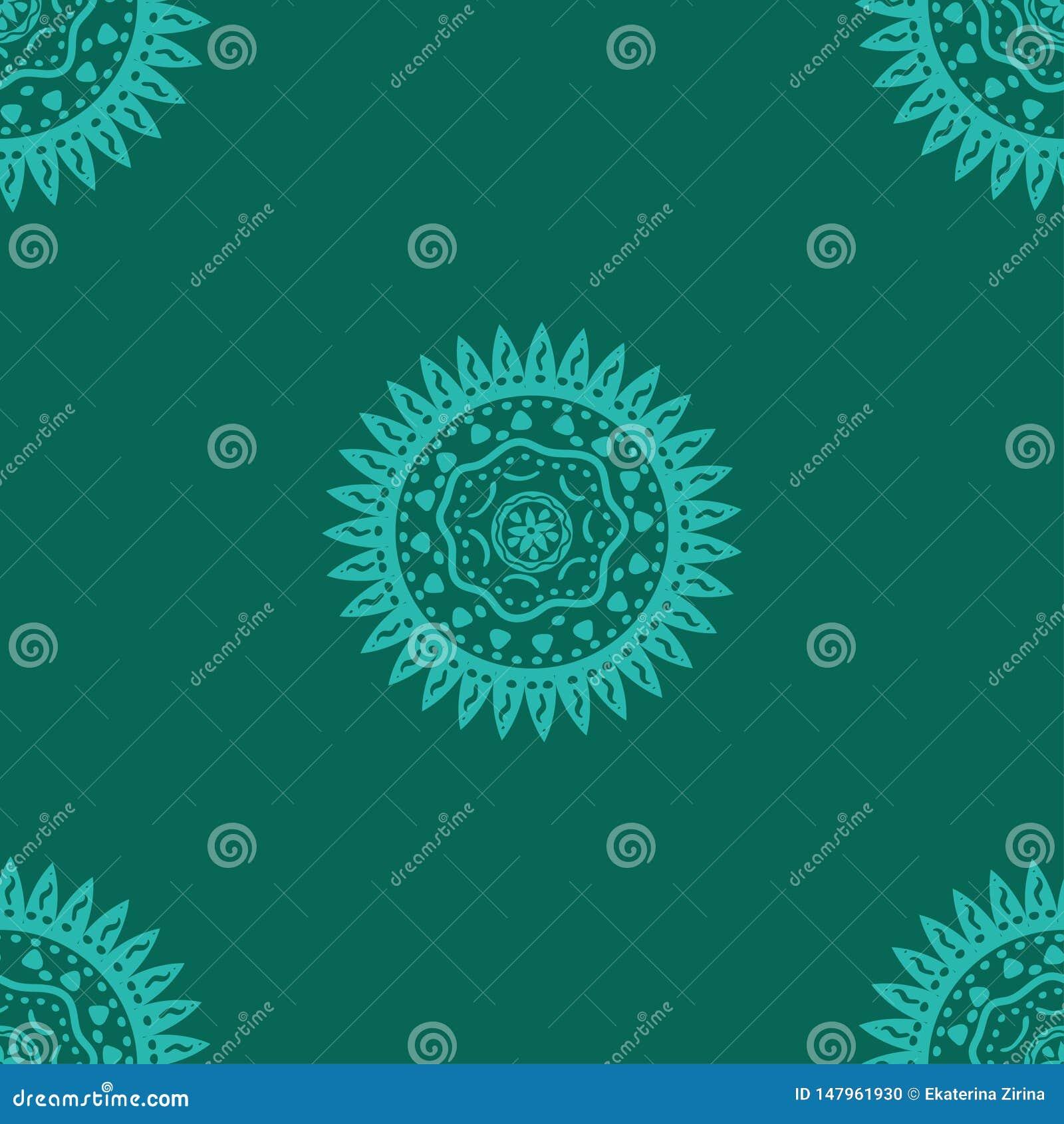 Naadloos patroon met zon Etnisch symbool Vectorpatroon op een turkooise achtergrond
