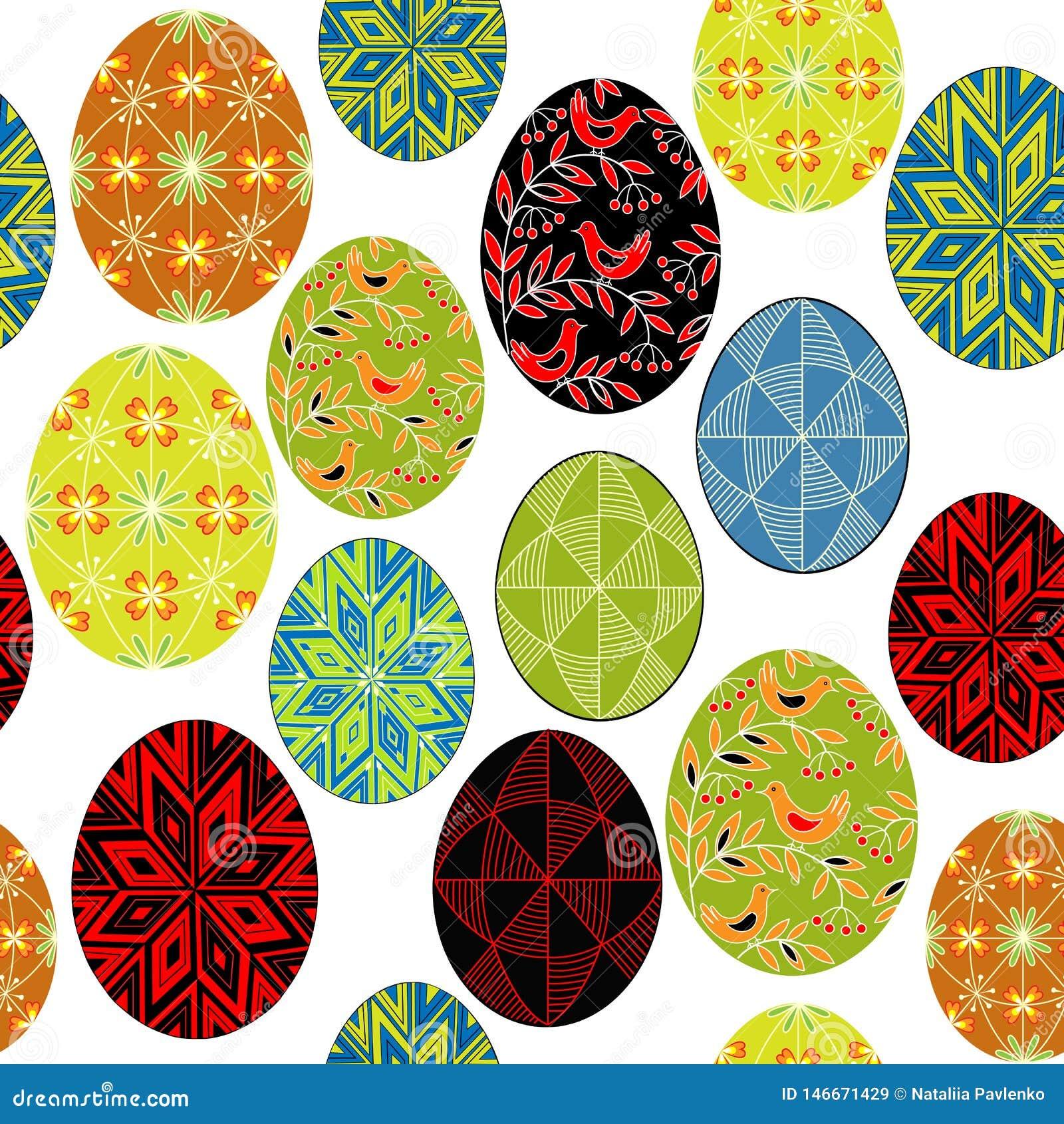Naadloos patroon Mooie paaseieren, die met verschillende patronen worden geschilderd Geschikt als behang, voor verpakkingsgiften