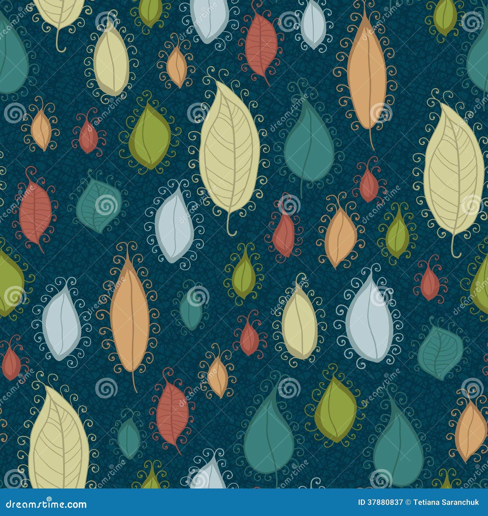 Naadloos patroon op bladerenthema