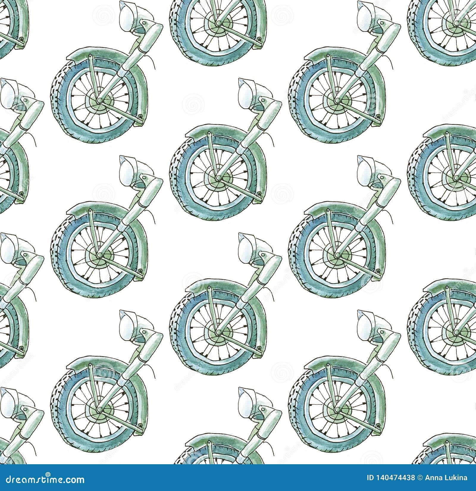 Naadloos patroon op een diagonaal net van de helft van een retro historische motorfiets in blauwe en groene kleuren op een witte