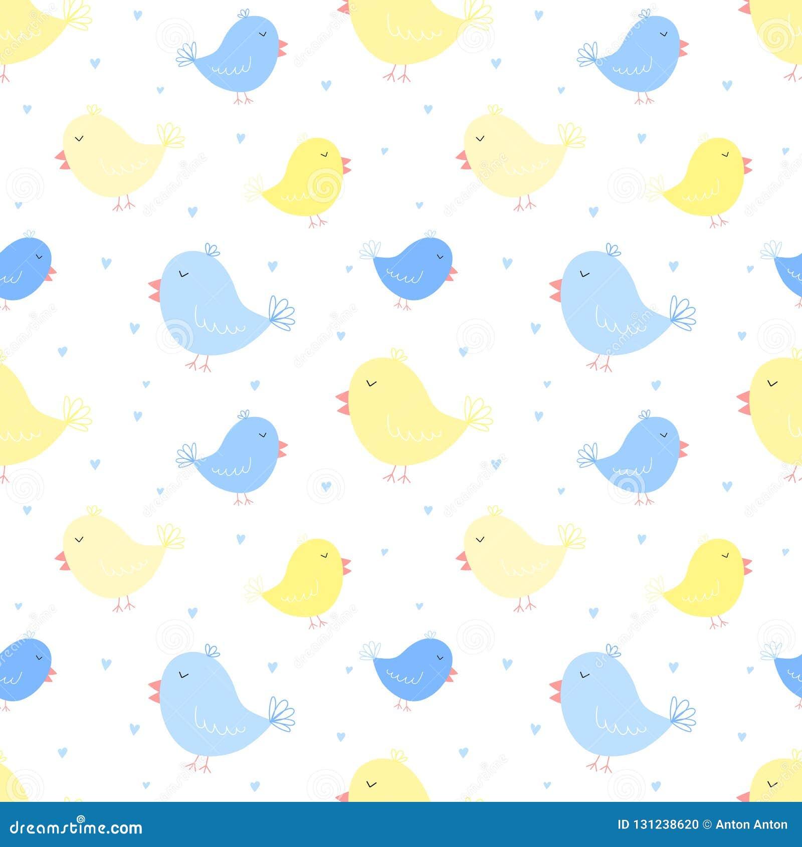 Naadloos patroon van blauwe en gele vogels met harten Vectorbeeld voor jongen en meisje Illustratie voor vakantie, babydouche, ge