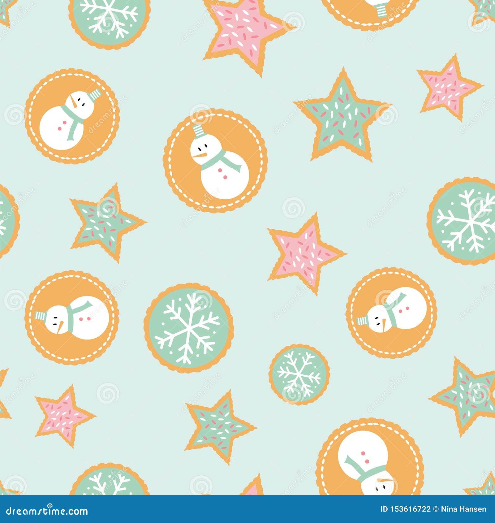 Naadloos patroon van de koekjes van de de wintervakantie met sneeuwmannen, sneeuwvlokken, en sterren een munt groene achtergrond