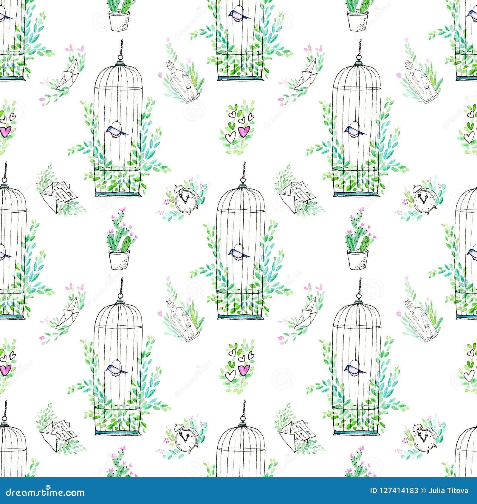 Naadloos patroon van een klok, boot, kooi met een vogel, vliegtuig, cactus, bootle, brief en bloemen