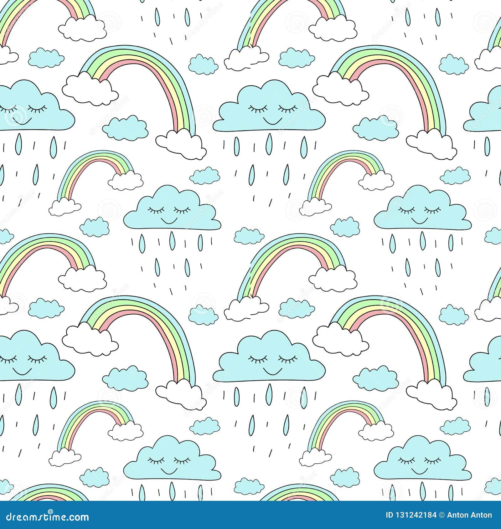 Naadloos patroon van hand-drawn regenbogen en wolken met regen Vectorachtergrondafbeelding voor vakantie, babydouche, eenhoorndru