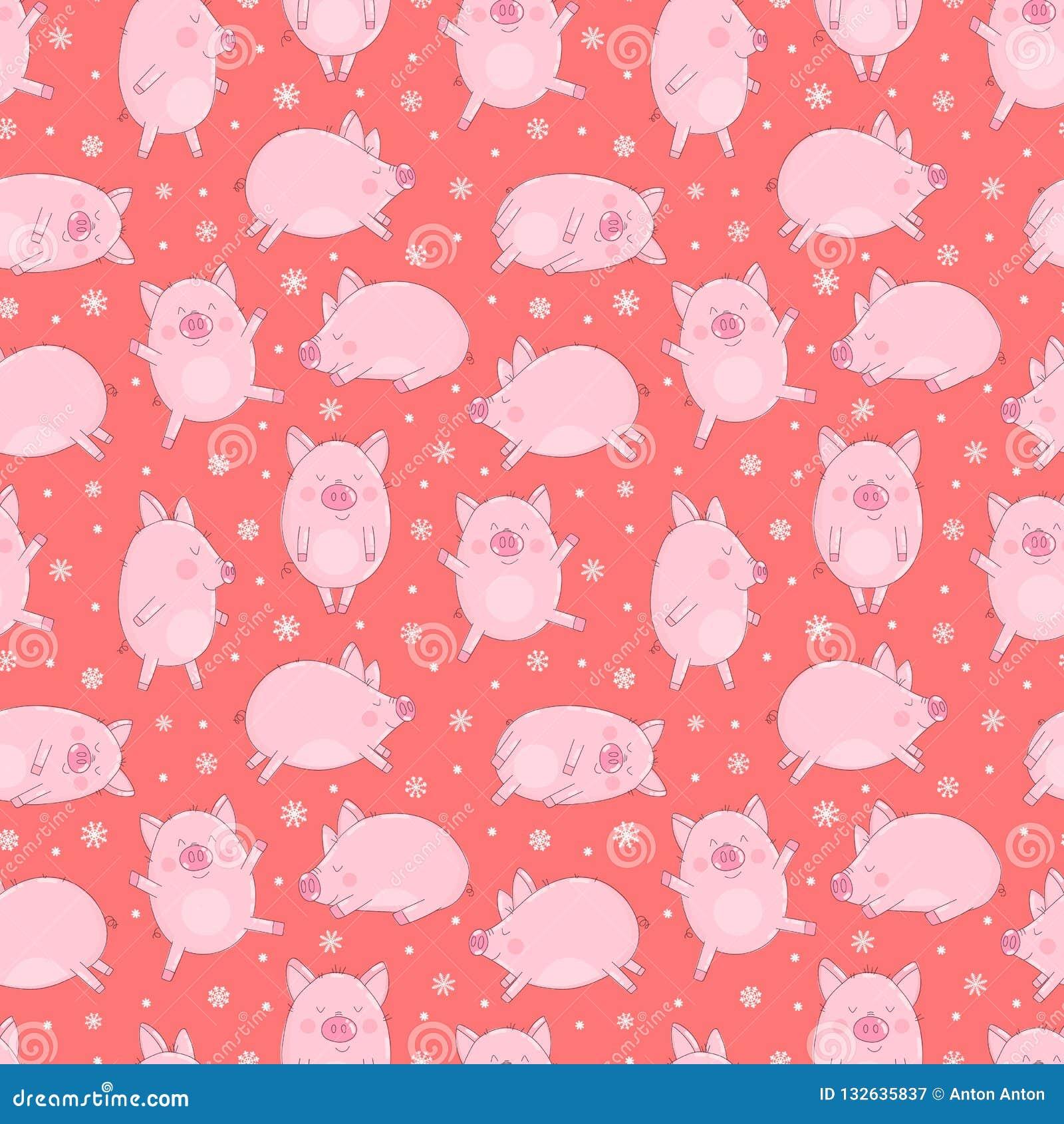 Naadloos patroon van hand-drawn varkens en sneeuwvlokken op een geïsoleerde rode achtergrond Vectorillustratie van biggetjes voor