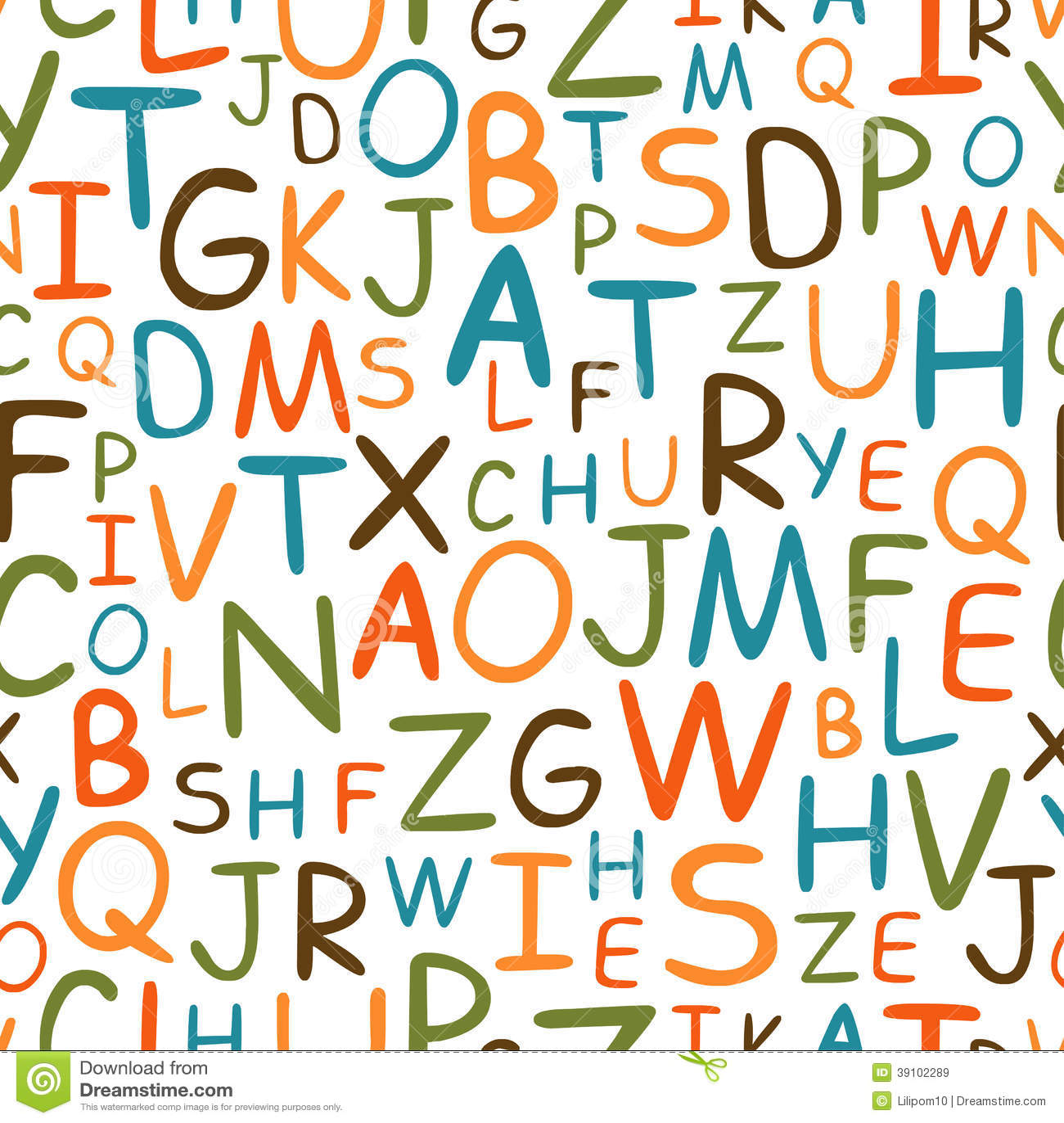 Naadloos patroon van hand getrokken brieven