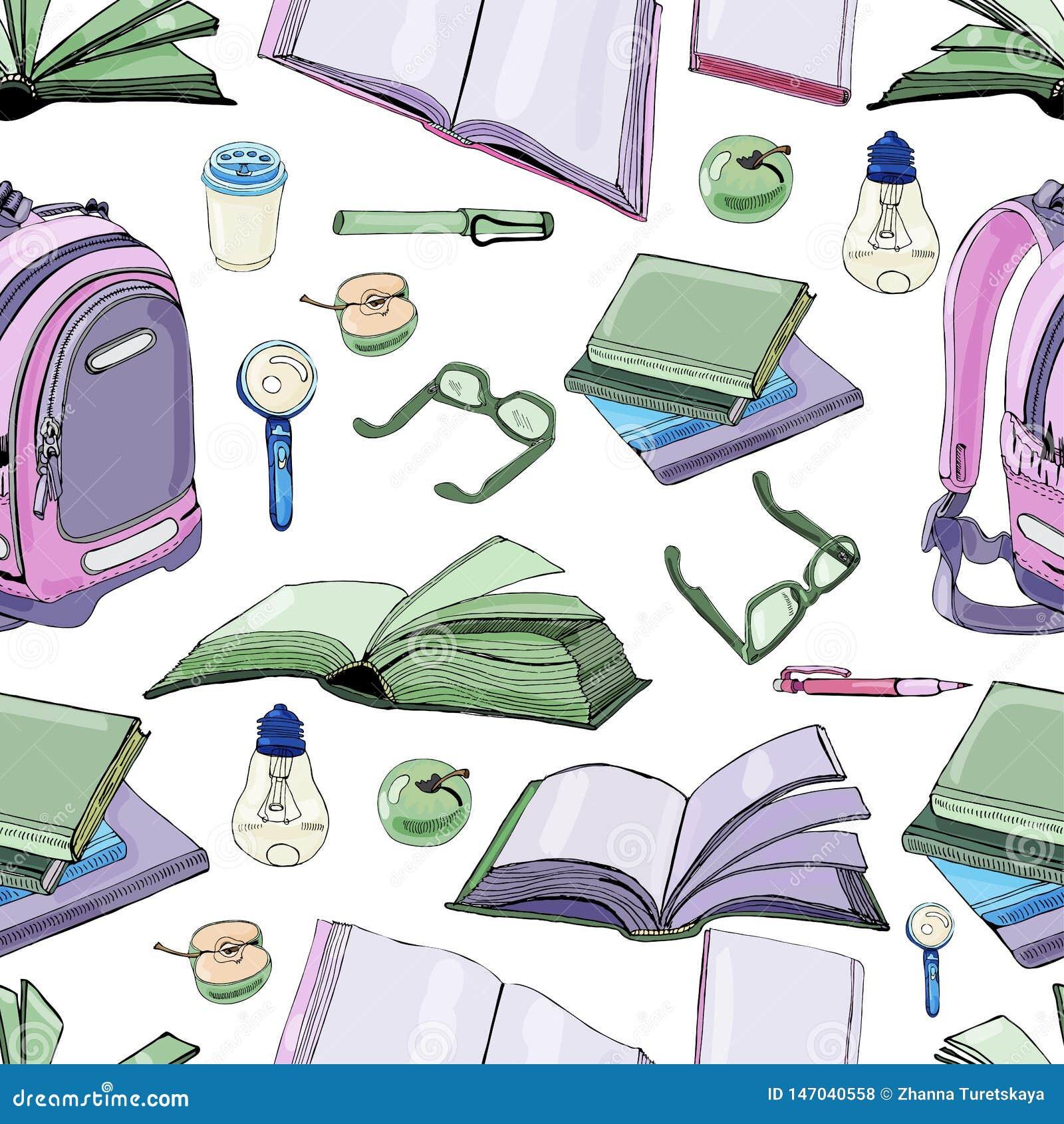 Naadloos patroon van hand getrokken inkt en gekleurde schets met boeken en schoolpunten Kleurenelementen op witte achtergrond wor