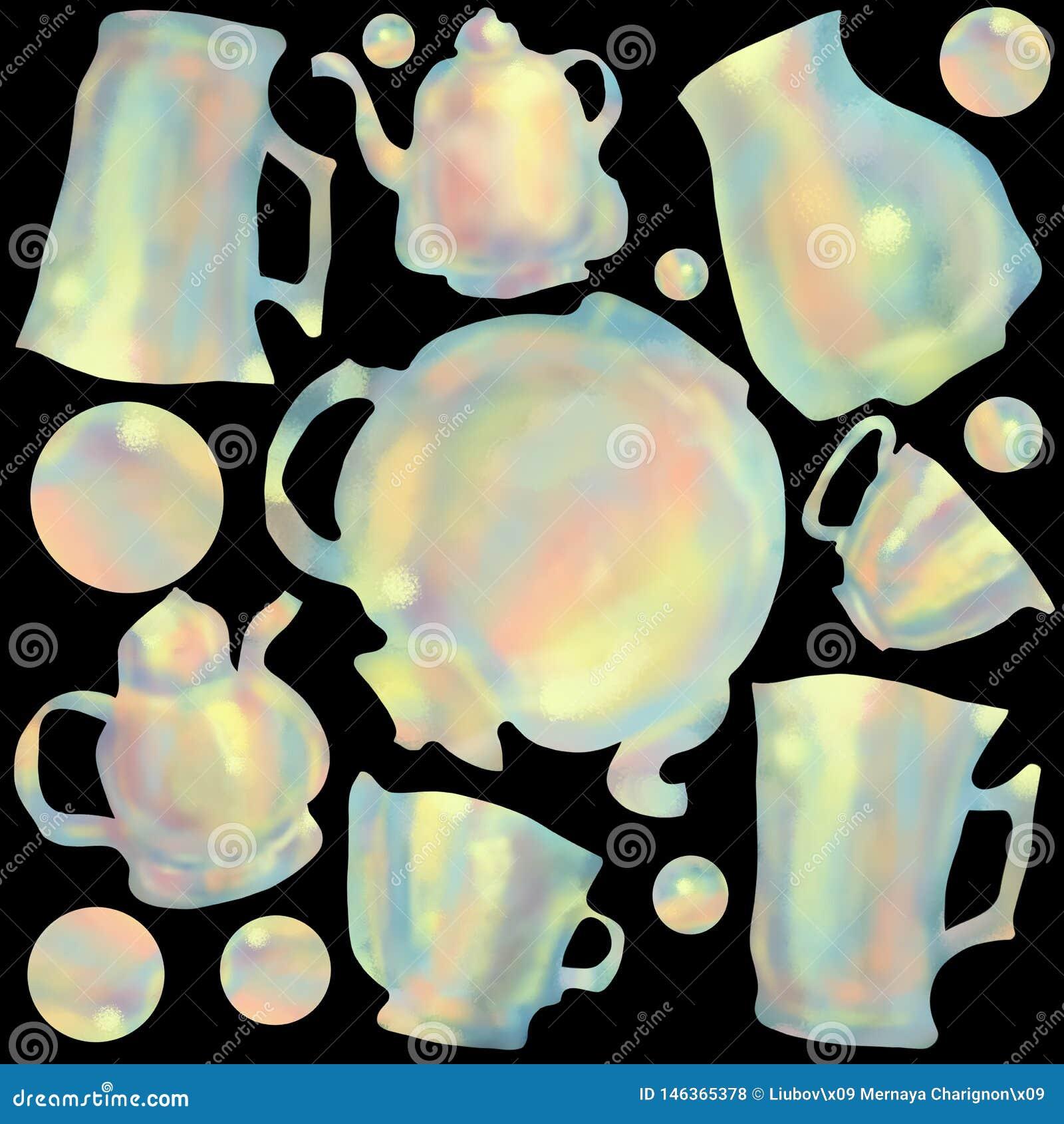 Naadloos patroon van kleurrijke koppen en theepotten Achtergrond en concept voor keuken en restaurants