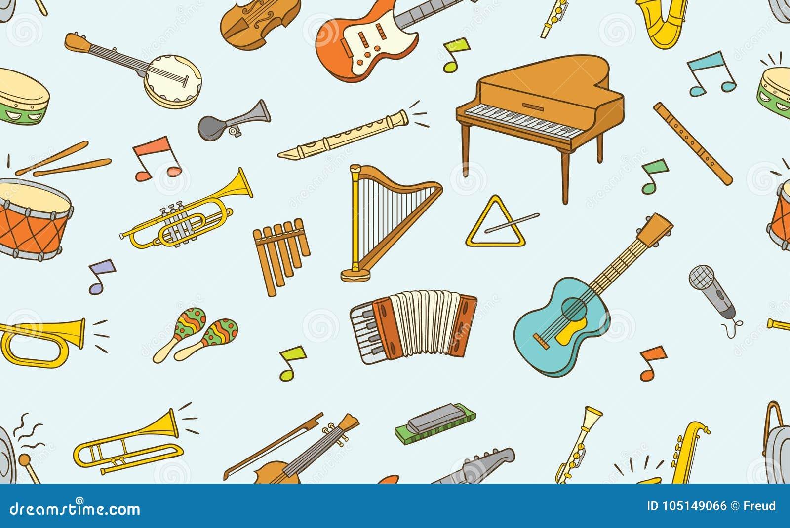 Naadloos patroon van krabbel muzikaal instrument in kleur