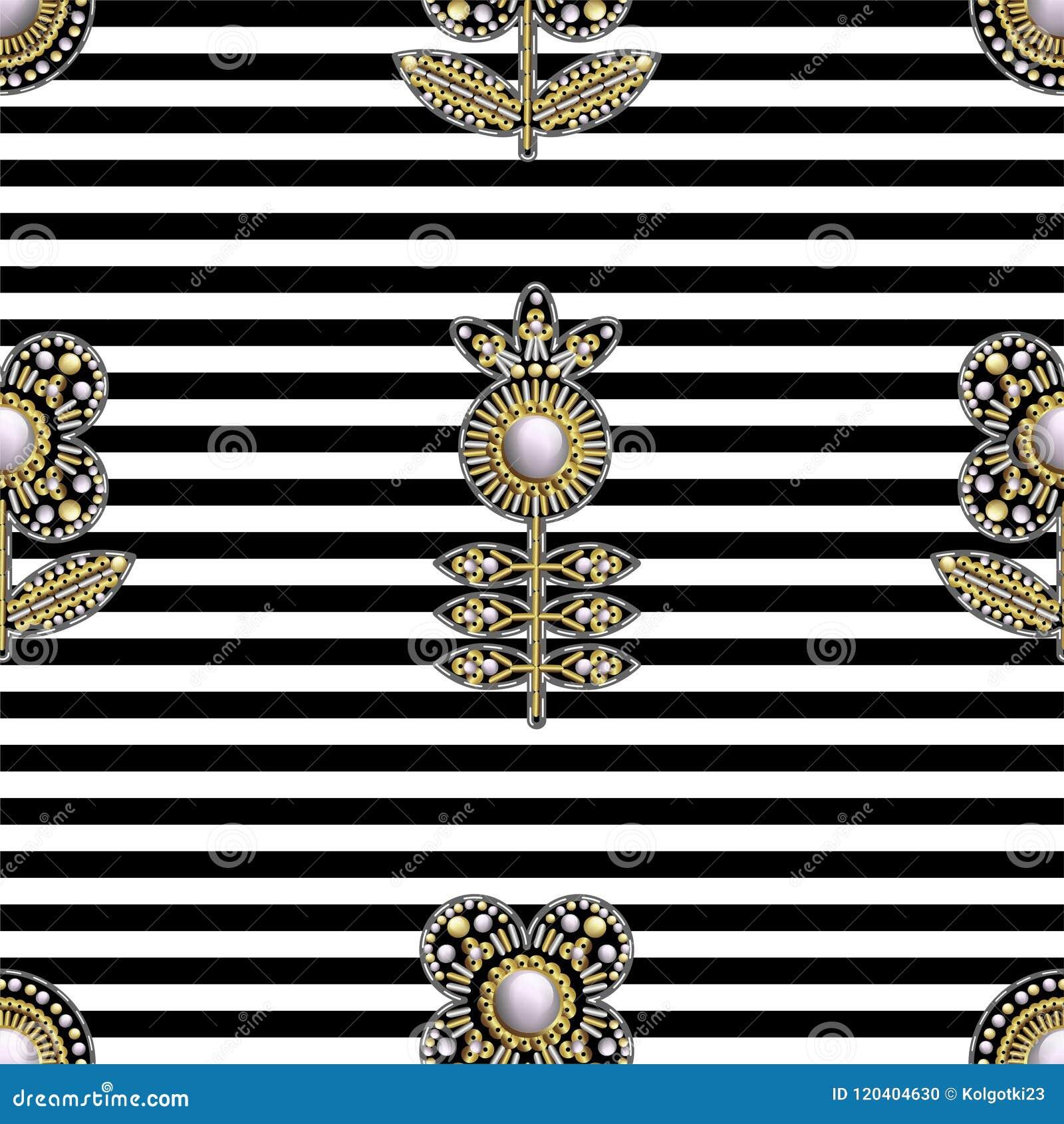Naadloos patroon van textiel geborduurde flarden met lovertjes, parels en parels Vector illustratie