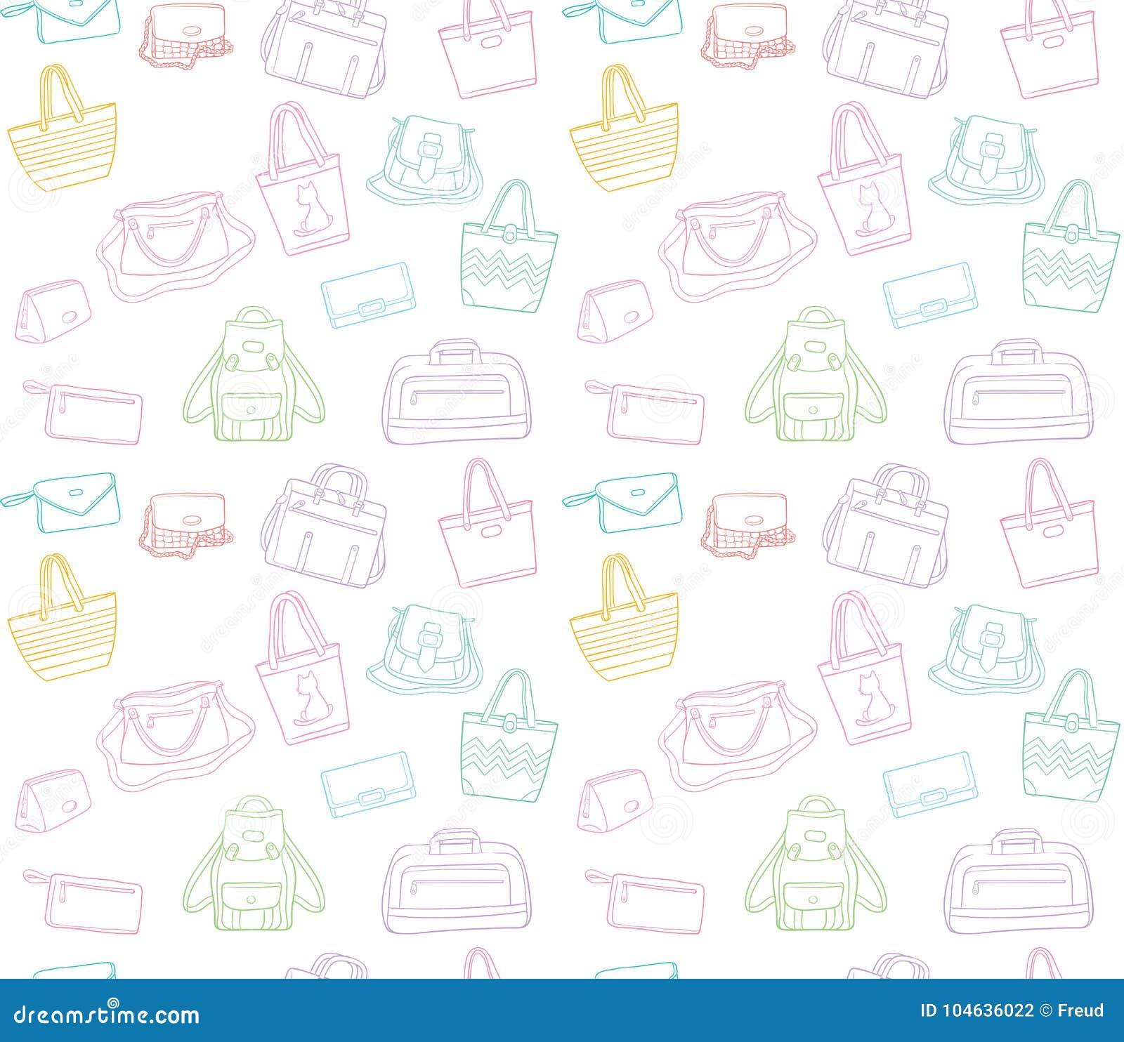 Download Naadloos Patroon Van Vrouwenzakken Vector Illustratie - Illustratie bestaande uit details, laptop: 104636022
