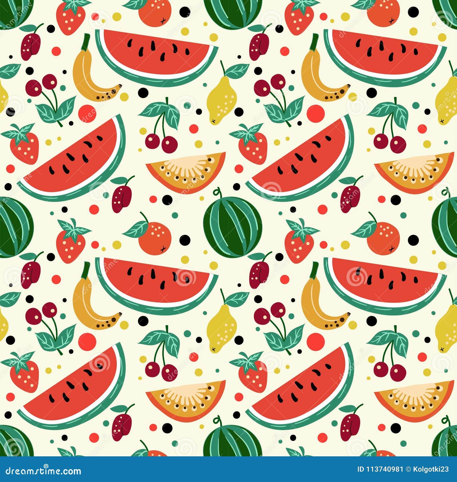 Naadloos patroon van vruchten, watermeloen, meloen, aardbei, kers, pruim, kiwi