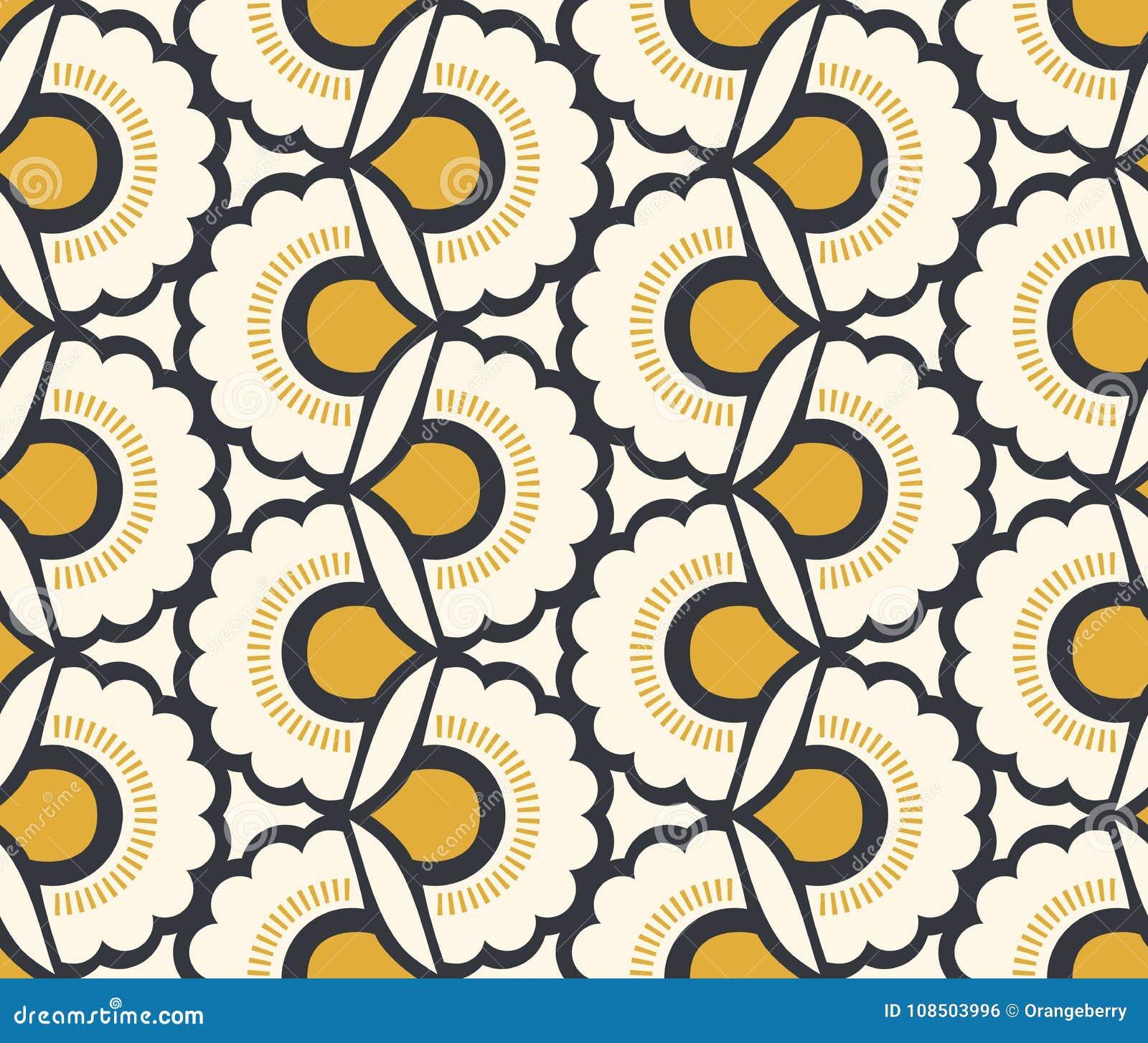 Naadloos retro patroon met bloemenelementen