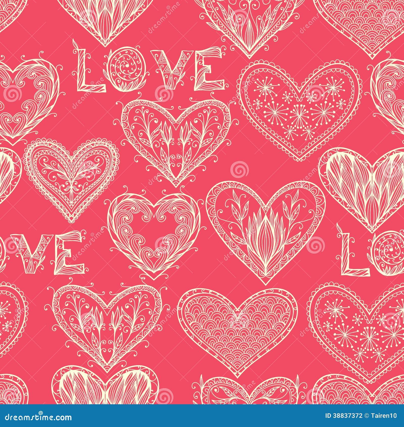 Naadloos roze zwart-wit Valentine-patroon