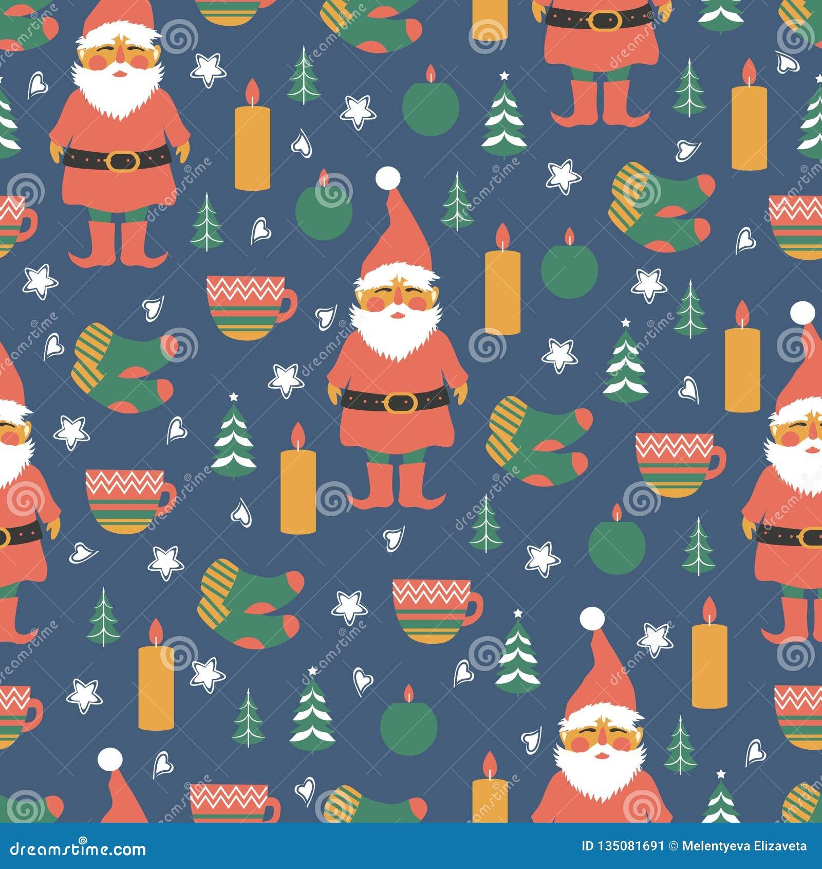 Naadloos Skandinavisch vectorpatroon, Noordse kleurrijke achtergrond, decoratieve Deense symbolenkerstboom, kaarsen