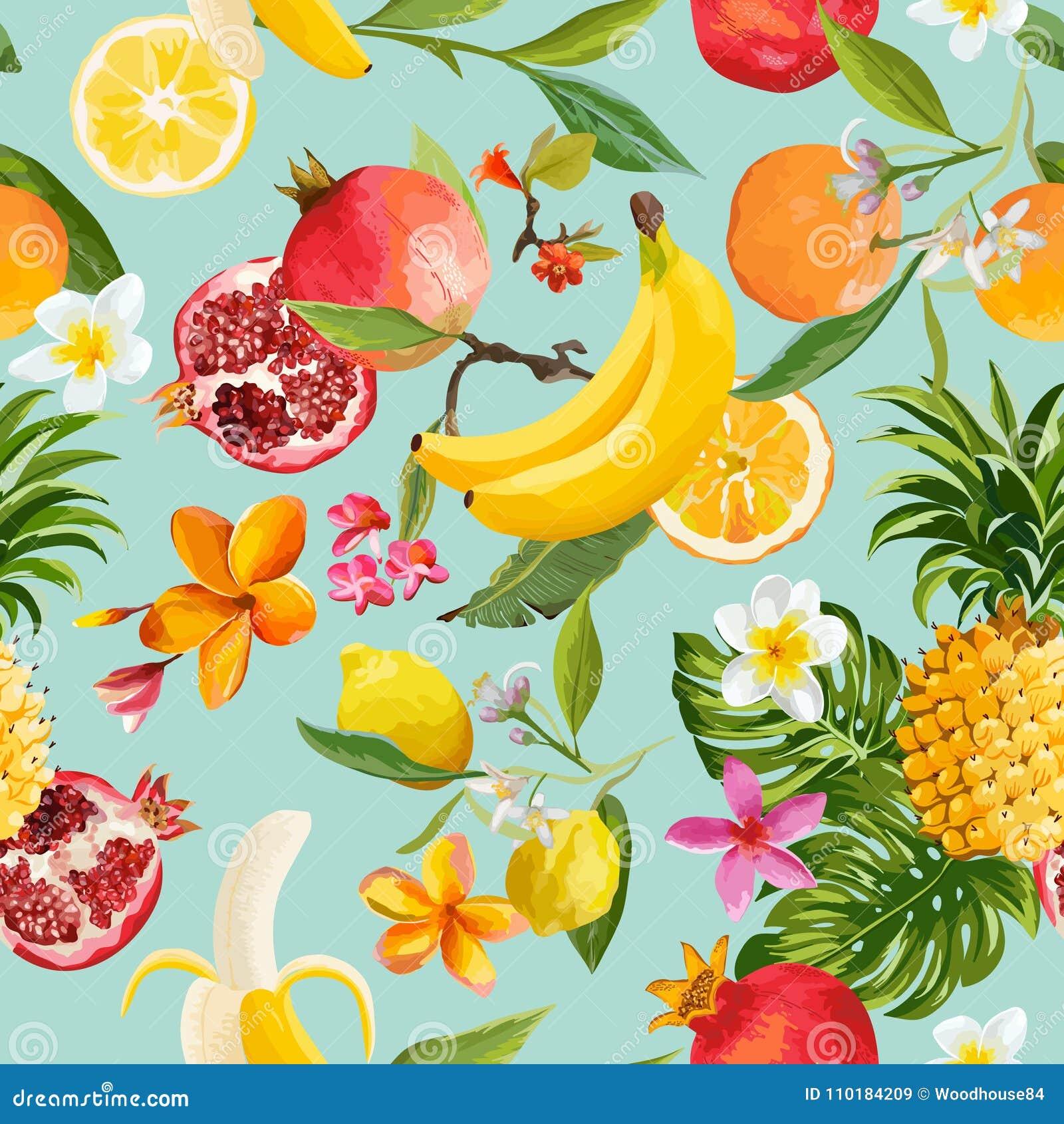 Naadloos Tropisch Vruchten Patroon Exotische Achtergrond met Granaatappel, Citroen, Bloemen en Palmbladen voor Behang