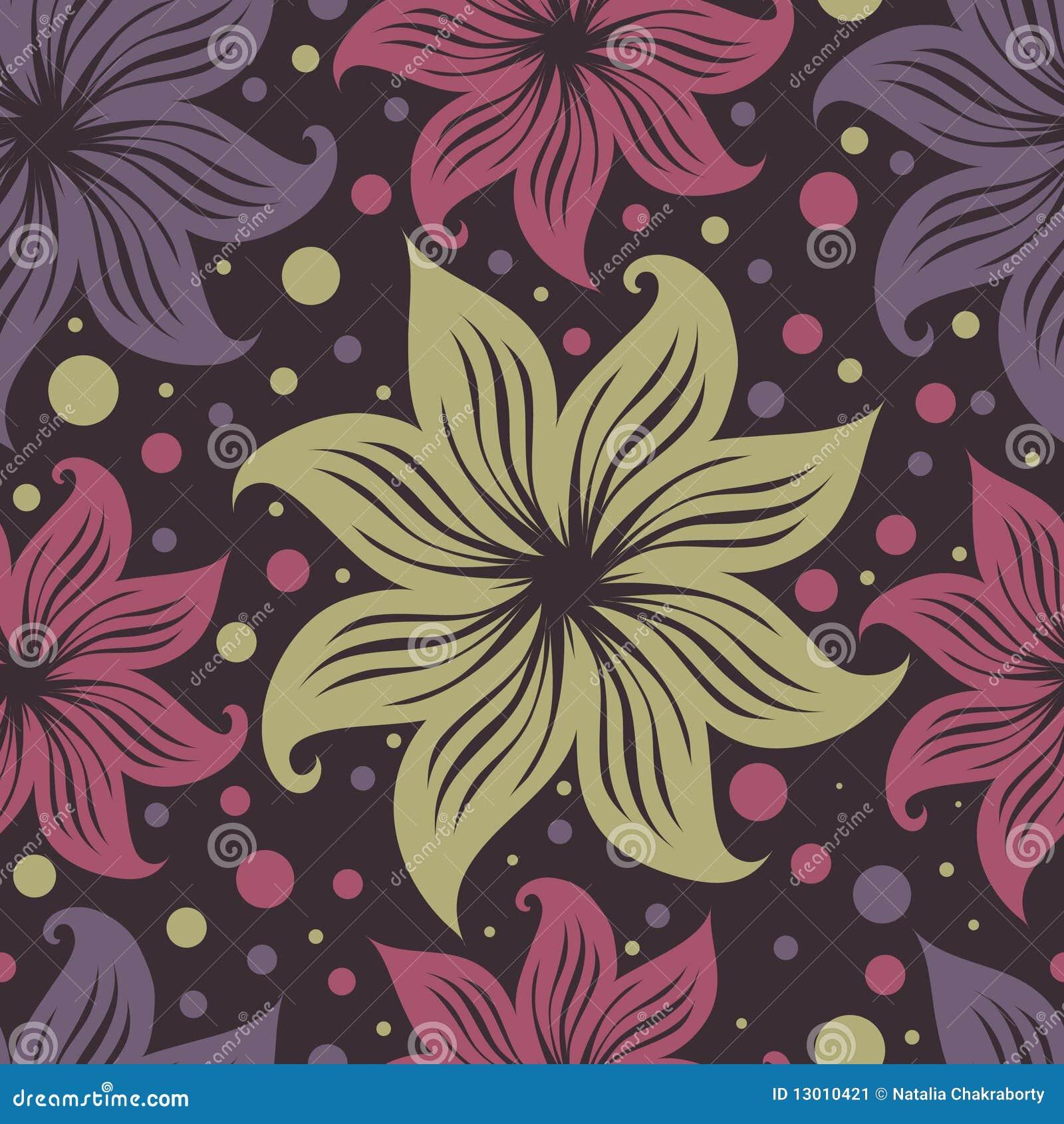 Naadloos uitstekend grunge bloemenpatroon met lilly