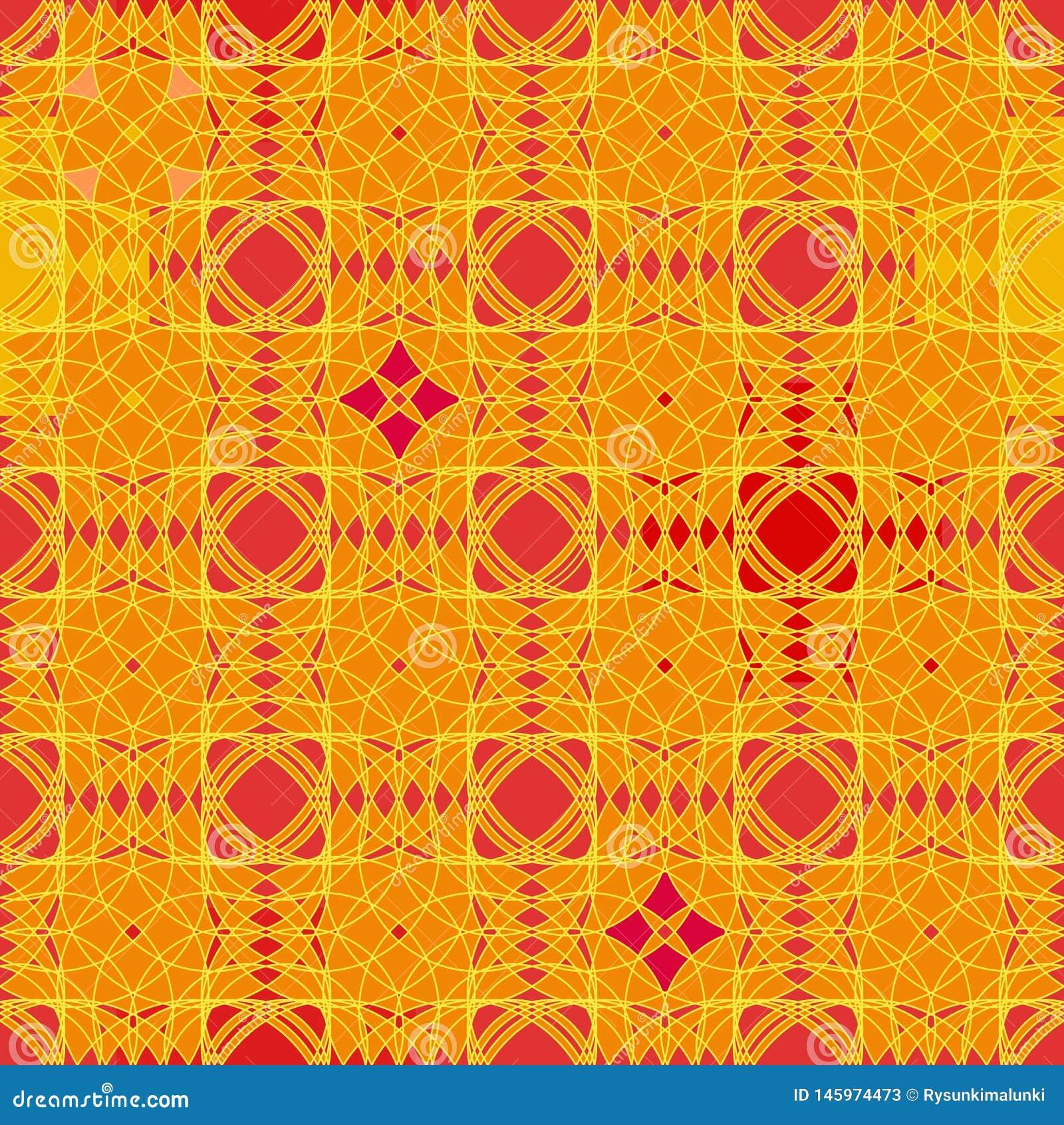 Naadloos vector abstract geometrisch patroon in levendige oranjerood en geel
