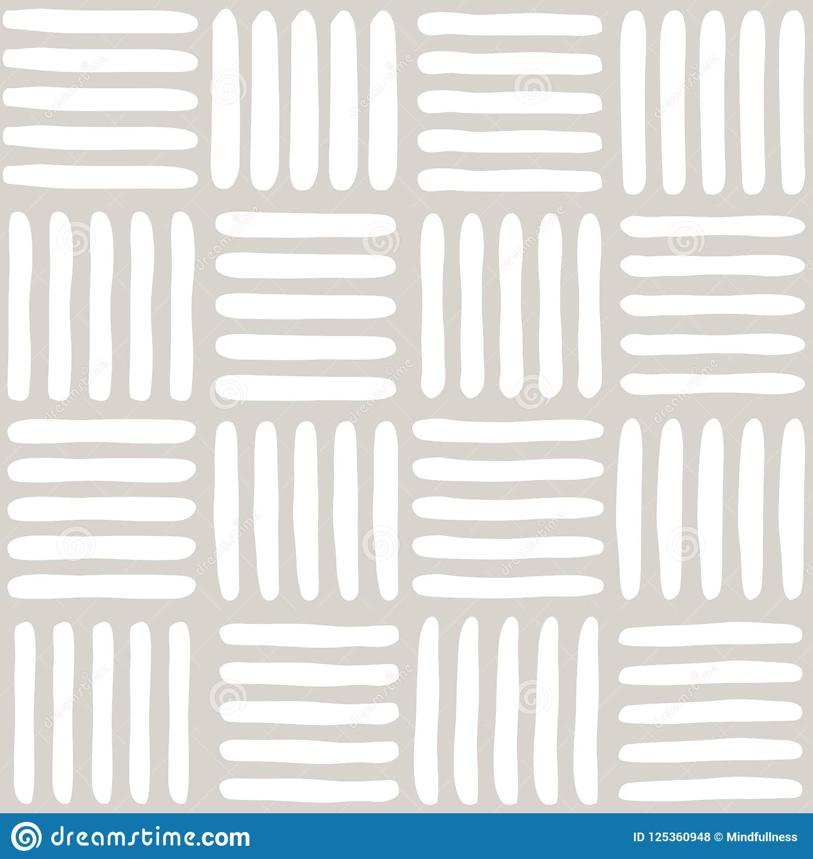 Naadloos vector abstract patroon met hand getrokken vierkanten met inbegrip van stroken en kolommen als achtergrond of textuur