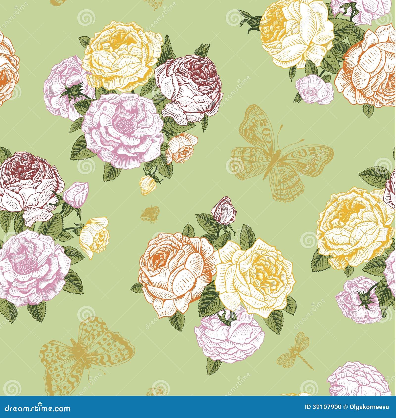 Naadloos vector bloemen uitstekend patroon