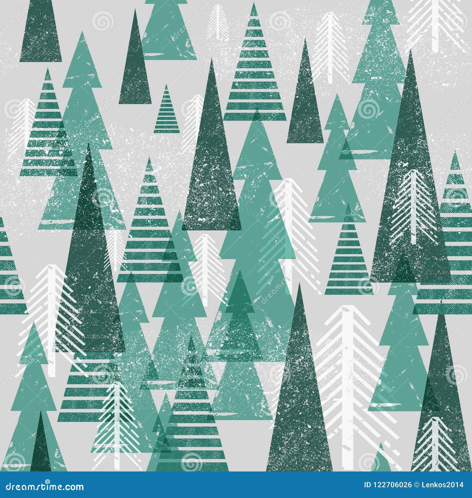 Naadloos vector de winter bospatroon De achtergrond van Kerstmis Groene bomen in wolken Grafische eenvoudig van de Grungetextuur