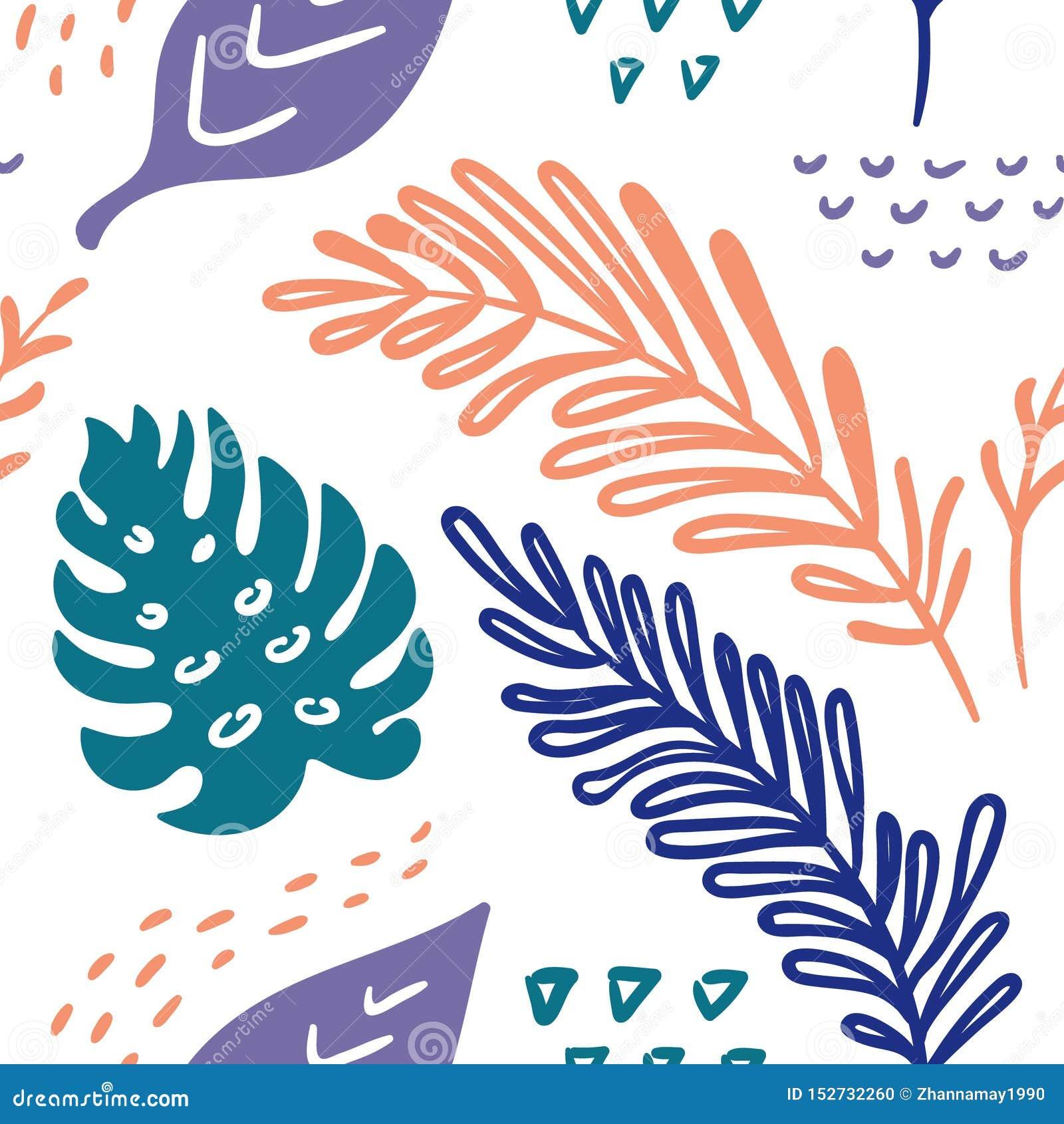 Naadloos vector hand-drawn abstract patroon met tropische bladeren in Skandinavische stijl