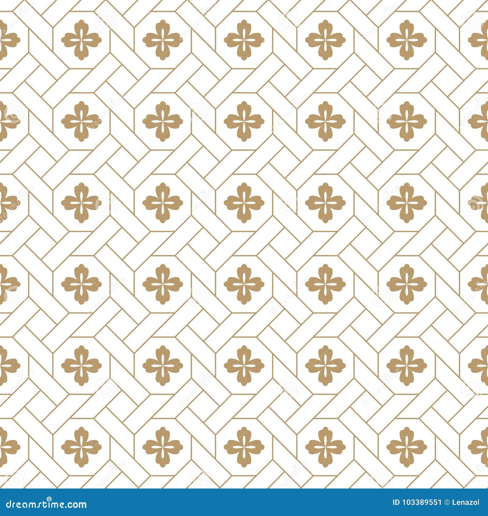 Naadloos vector Japans traditioneel geometrisch patroonontwerp met bloemsymbolen ontwerp voor textiel, verpakking, dekking