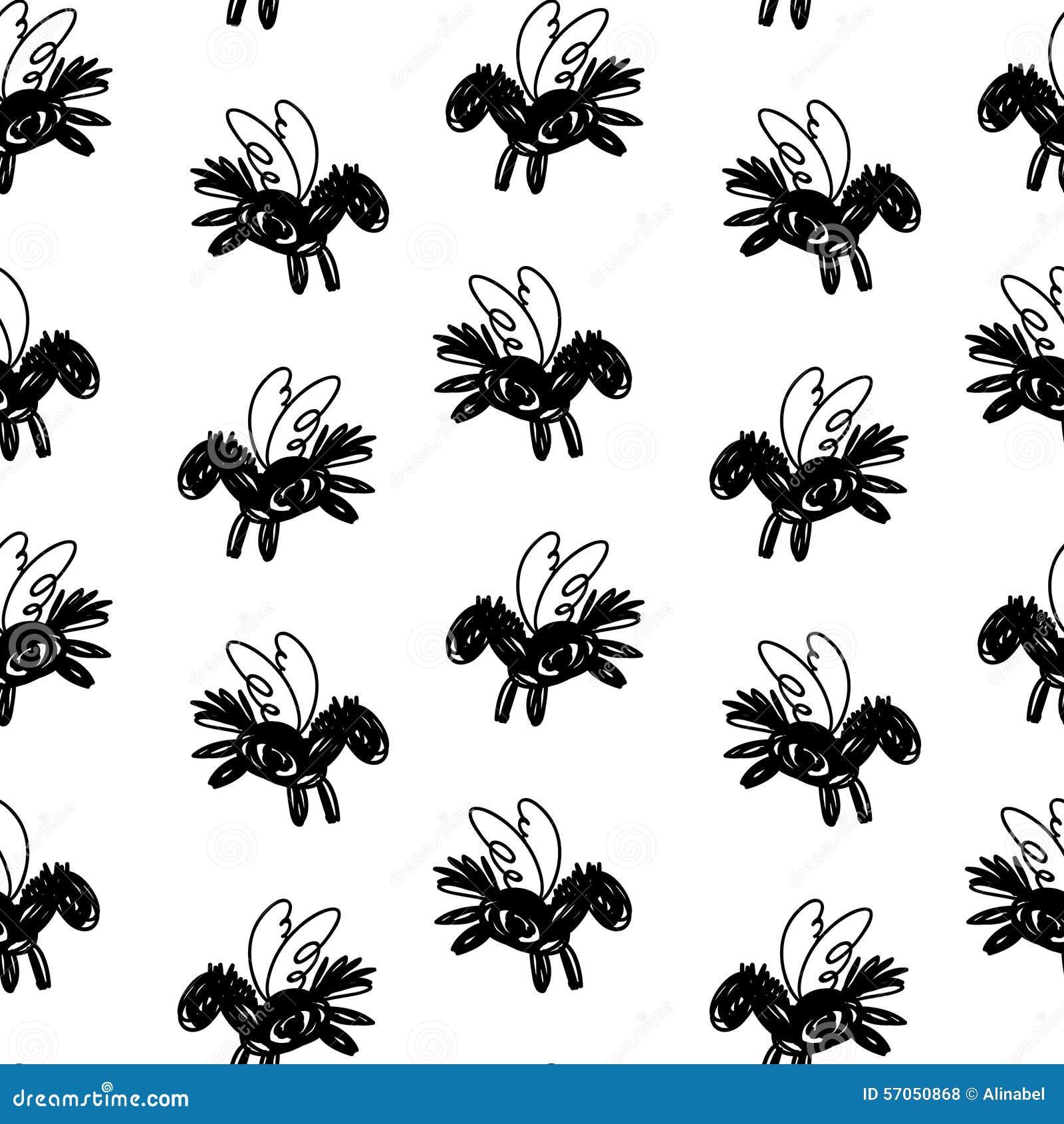 Naadloos vector zwart-wit patroon