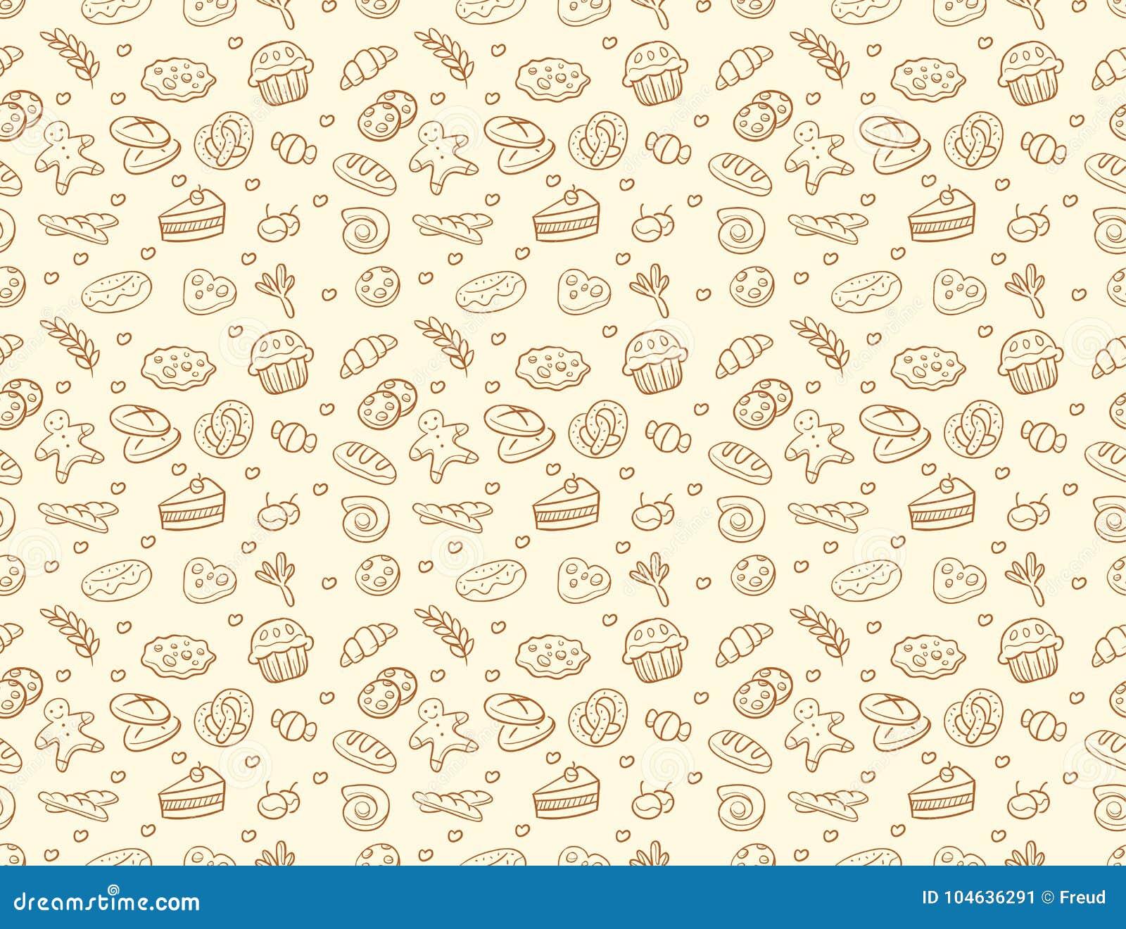 Download Naadloos Vectorbakkerij & Gebakjepatroon Vector Illustratie - Illustratie bestaande uit keuken, embleem: 104636291