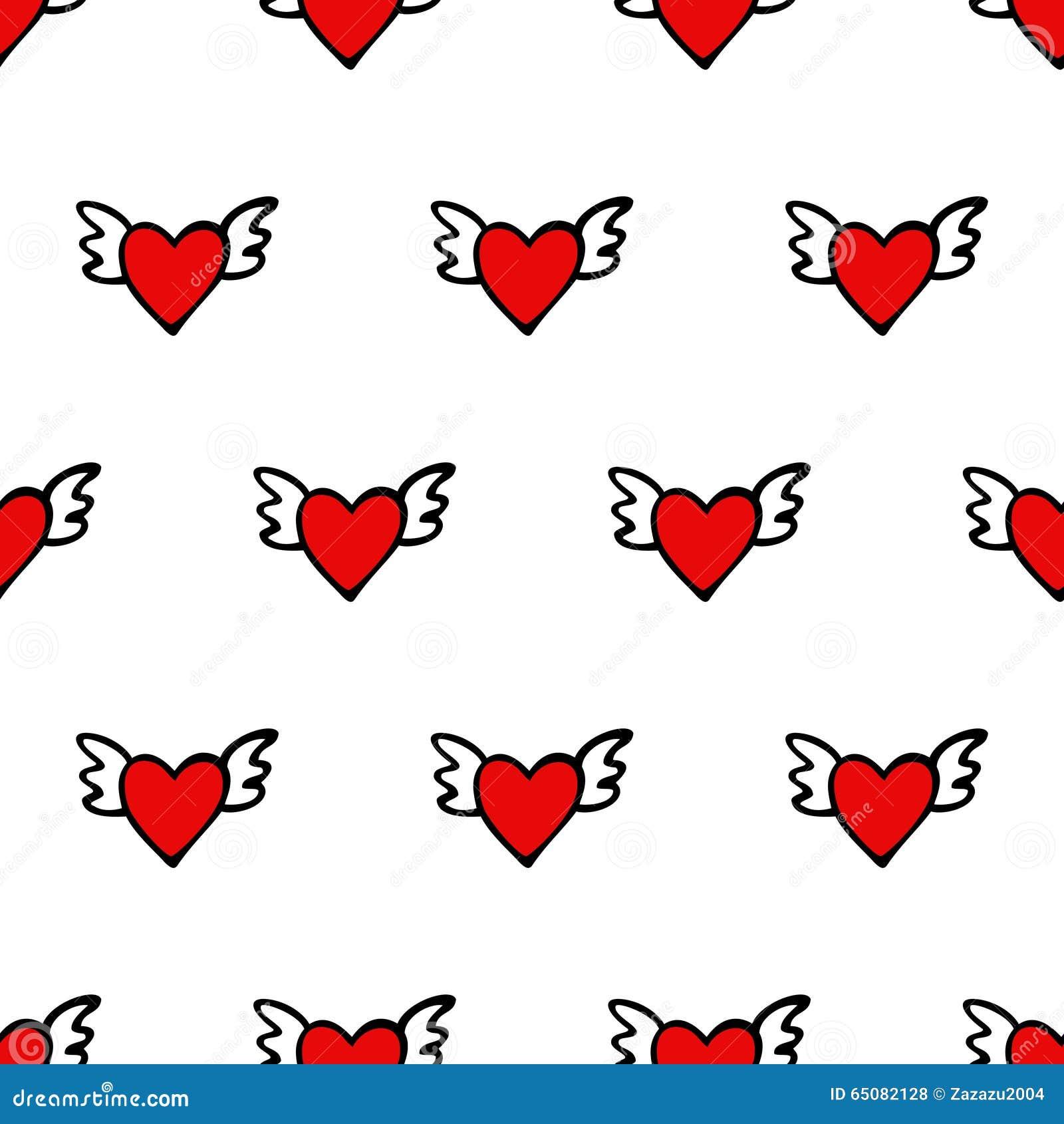 Naadloos vectorhartpatroon voor Valentijnskaartendag Leuke harten met vleugels