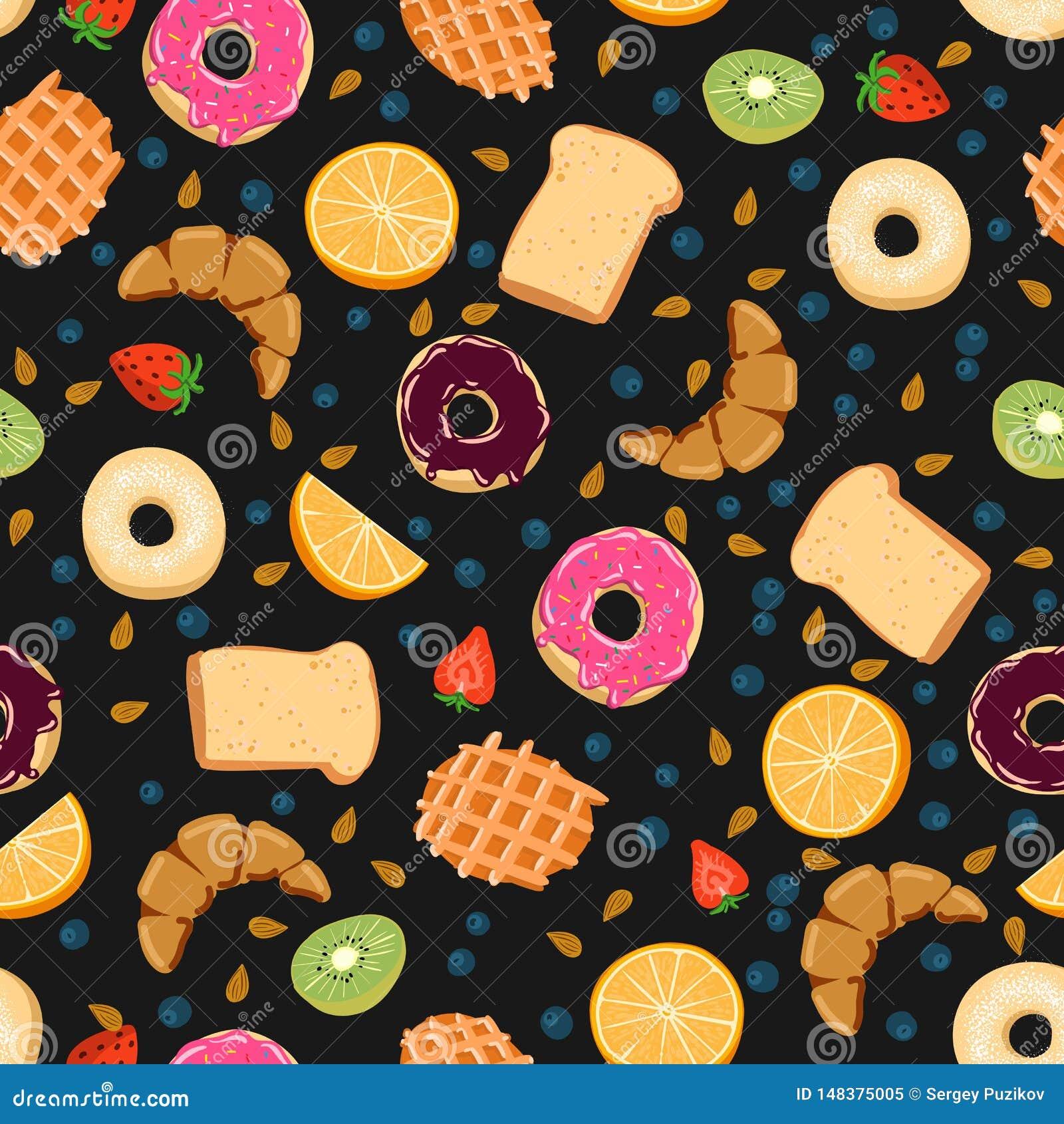 Naadloos vectorpatroon met de dingen van het kawaiiontbijt op zwarte achtergrond perfect voor verpakkend document achtergronden e
