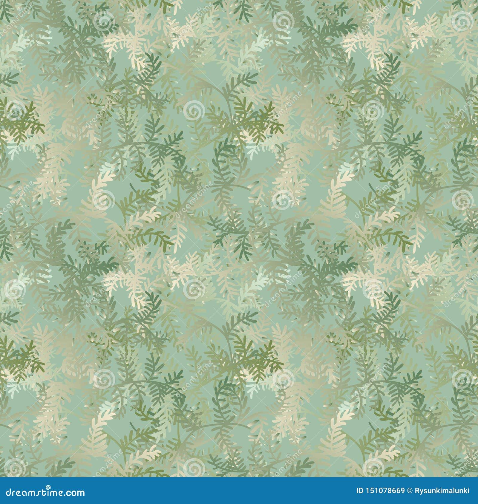 Naadloos vectorpatroon met de takken van de Kerstmisboom in bleek - groene gradiënten