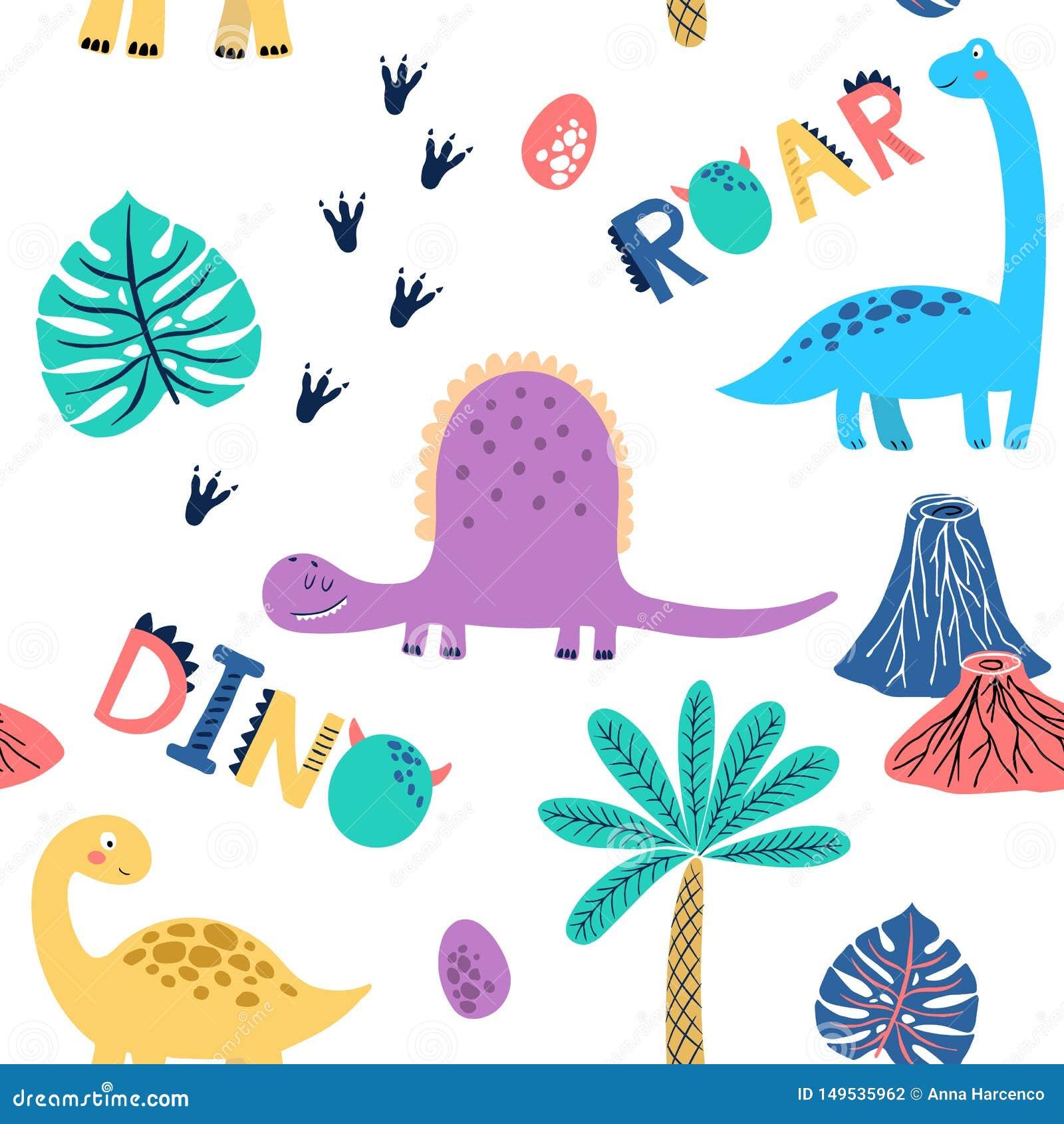 Naadloos vectorpatroon met leuke dinosaurussen voor typografieaffiche, kaart, etiket, brochure, vlieger, pagina, bannerontwerp Ve
