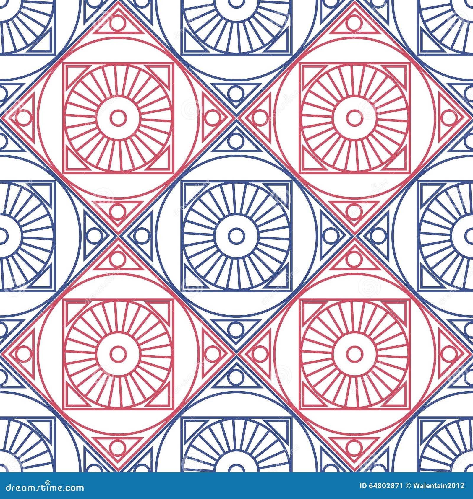 naadloos vectorpatroon symmetrische geometrische achtergrond met rode en blauwe ruit en cirkels op de witte achtergrond decoratief 64802871 - Behang Ruit