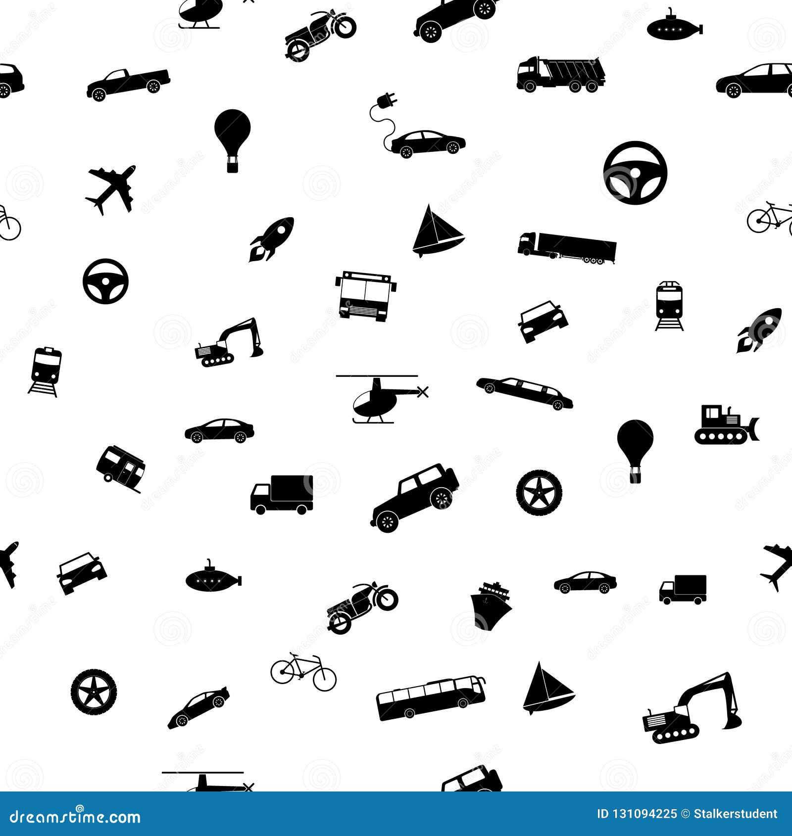Naadloos vervoerpatroon Vectorillustratiepictogrammen in vlakke stijl