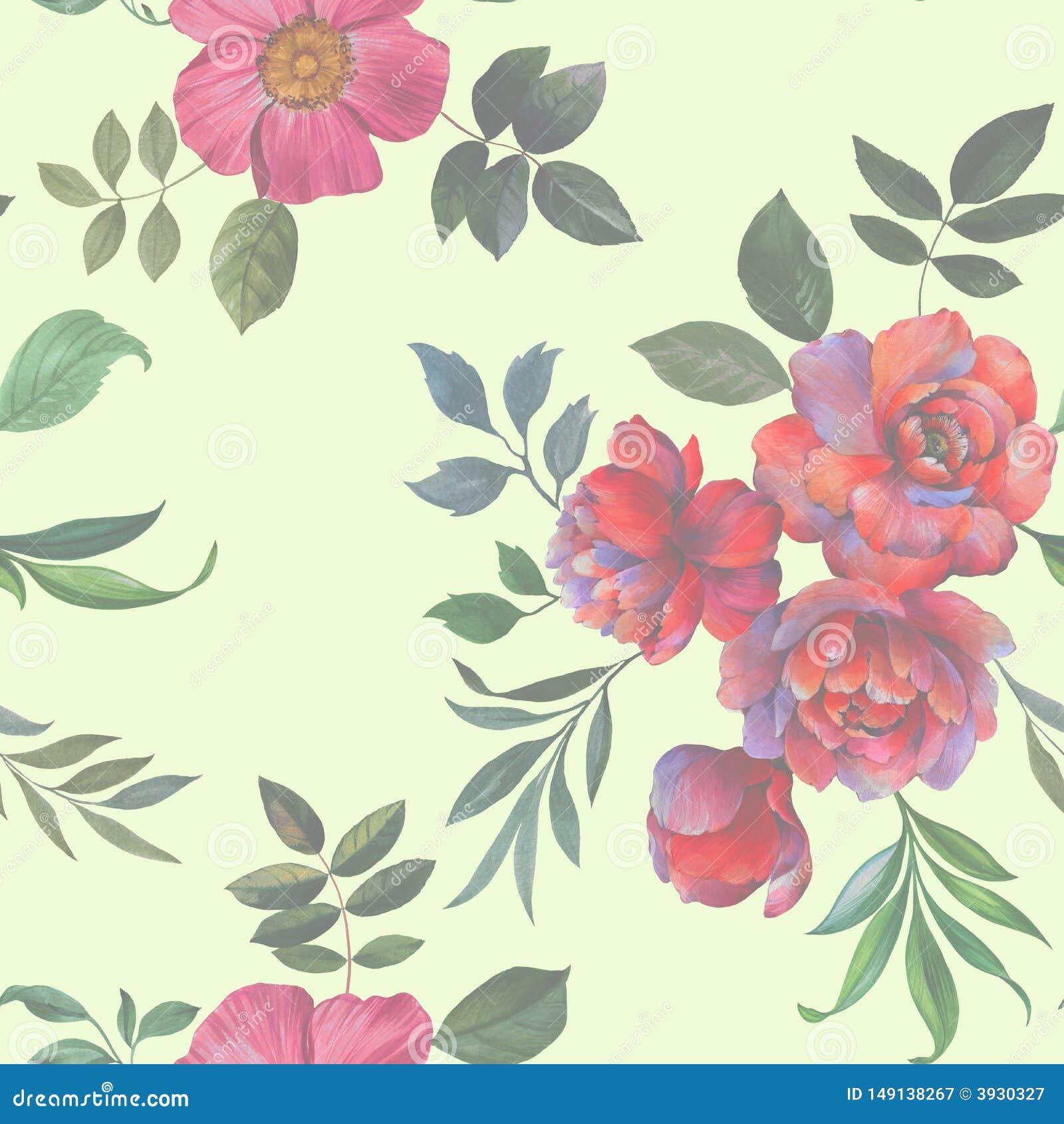 Naadloos waterverfpatroon Illustratie van bloemen en bladeren