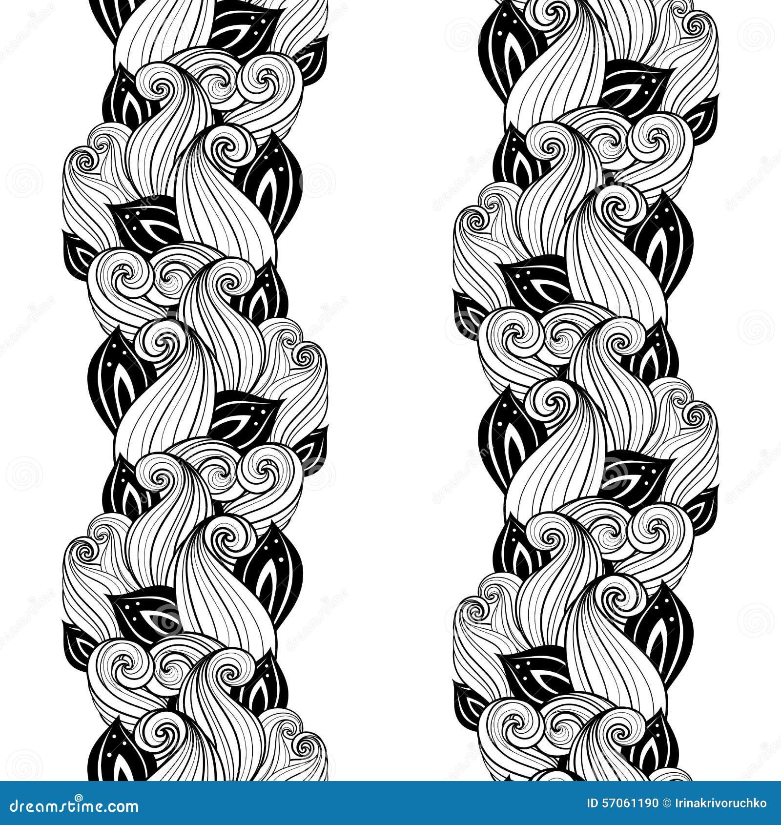 Naadloos Zwart-wit Bloemenpatroon (Vector)