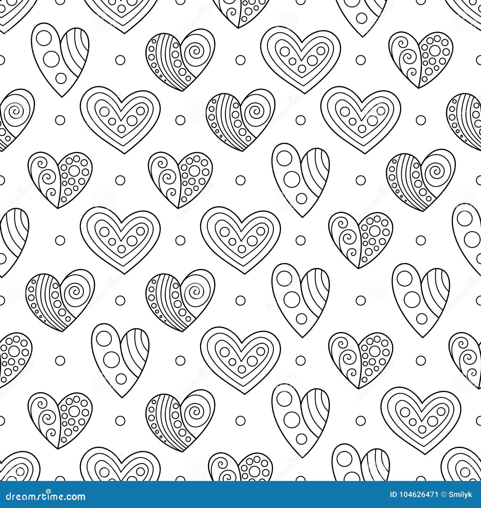 Download Naadloos Zwart-wit Patroon Voor Antistresstherapie Vector Illustratie - Illustratie bestaande uit pagina, ontwerp: 104626471