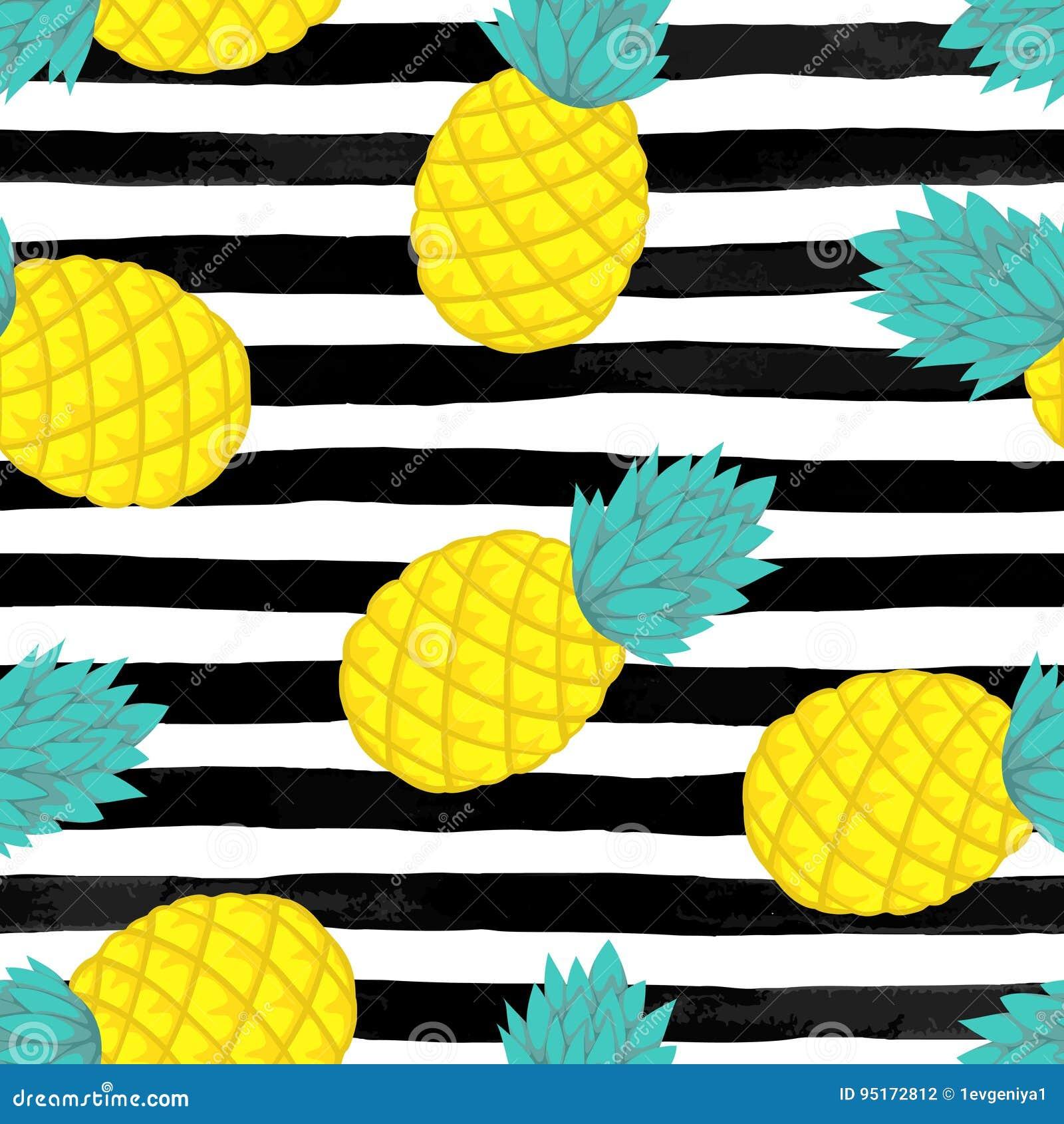 Naadloze achtergrond met ananas op zwart-witte waterverfstrepen