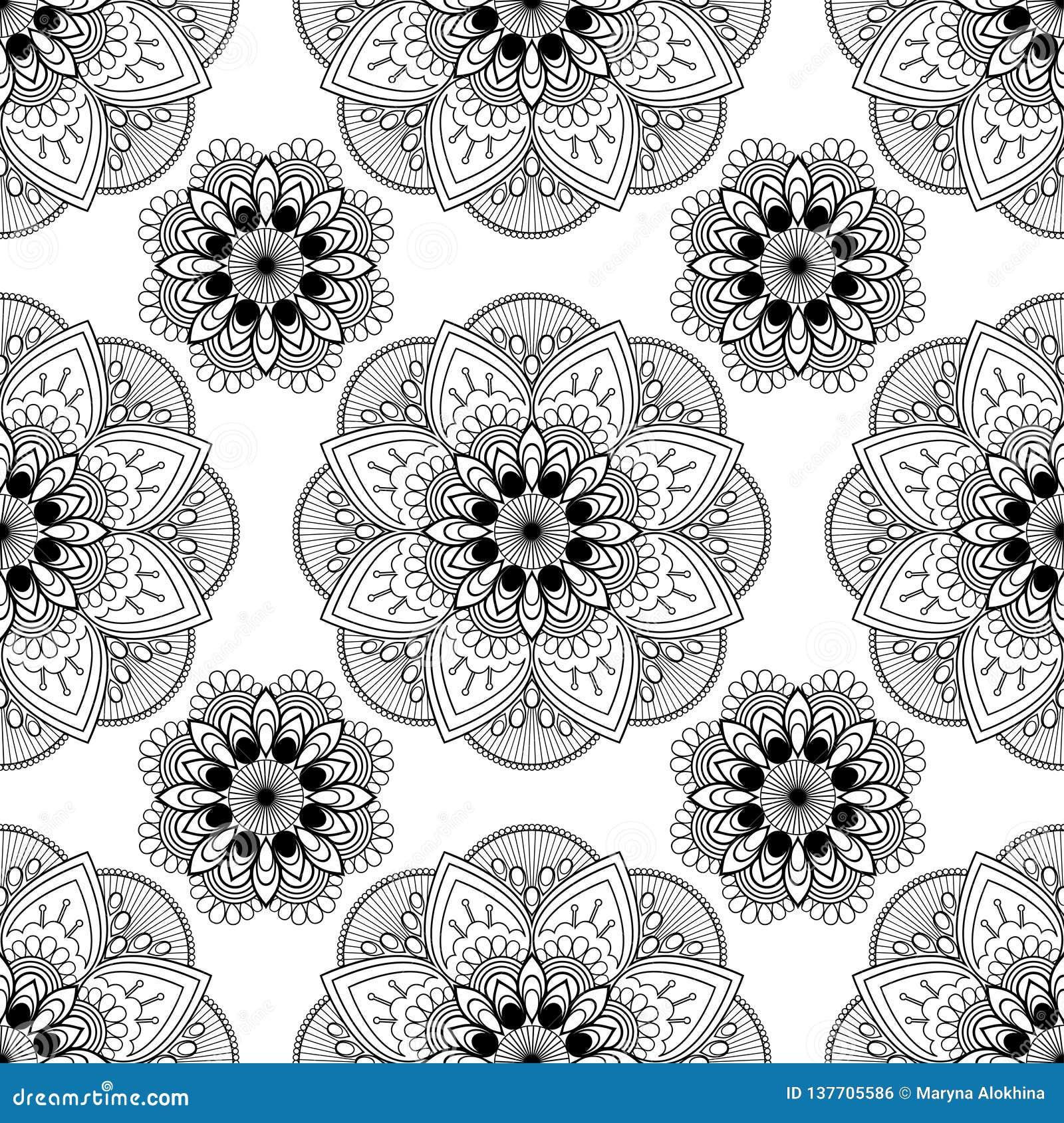 Naadloze achtergrond met butadecoratie van de mehndi bloemenhenna op witte achtergrond in Indische stijl