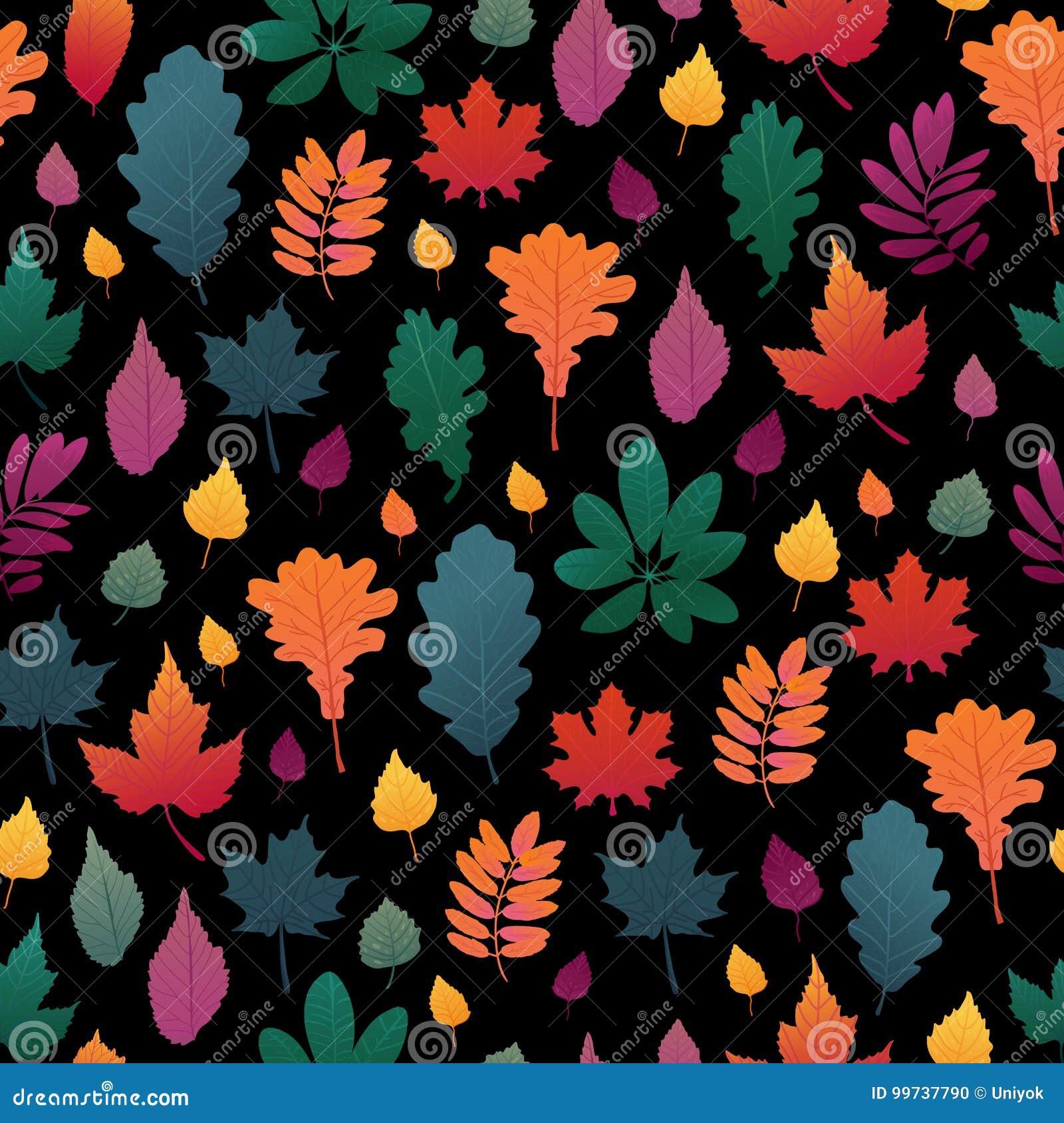 Naadloze achtergrond met het patroon van het de herfstblad Dalingskruid, takje op zwarte achtergrond Eik en esdoornblad graient c