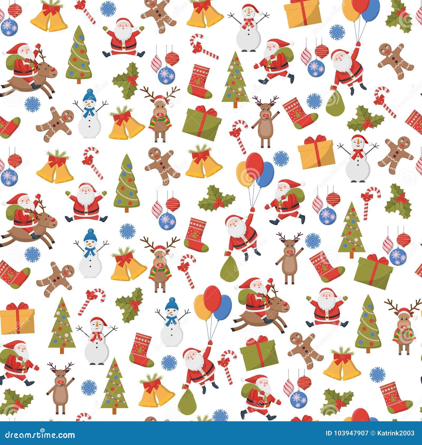 Naadloze achtergrond met Kerstmis en Nieuwjaarsymbolen