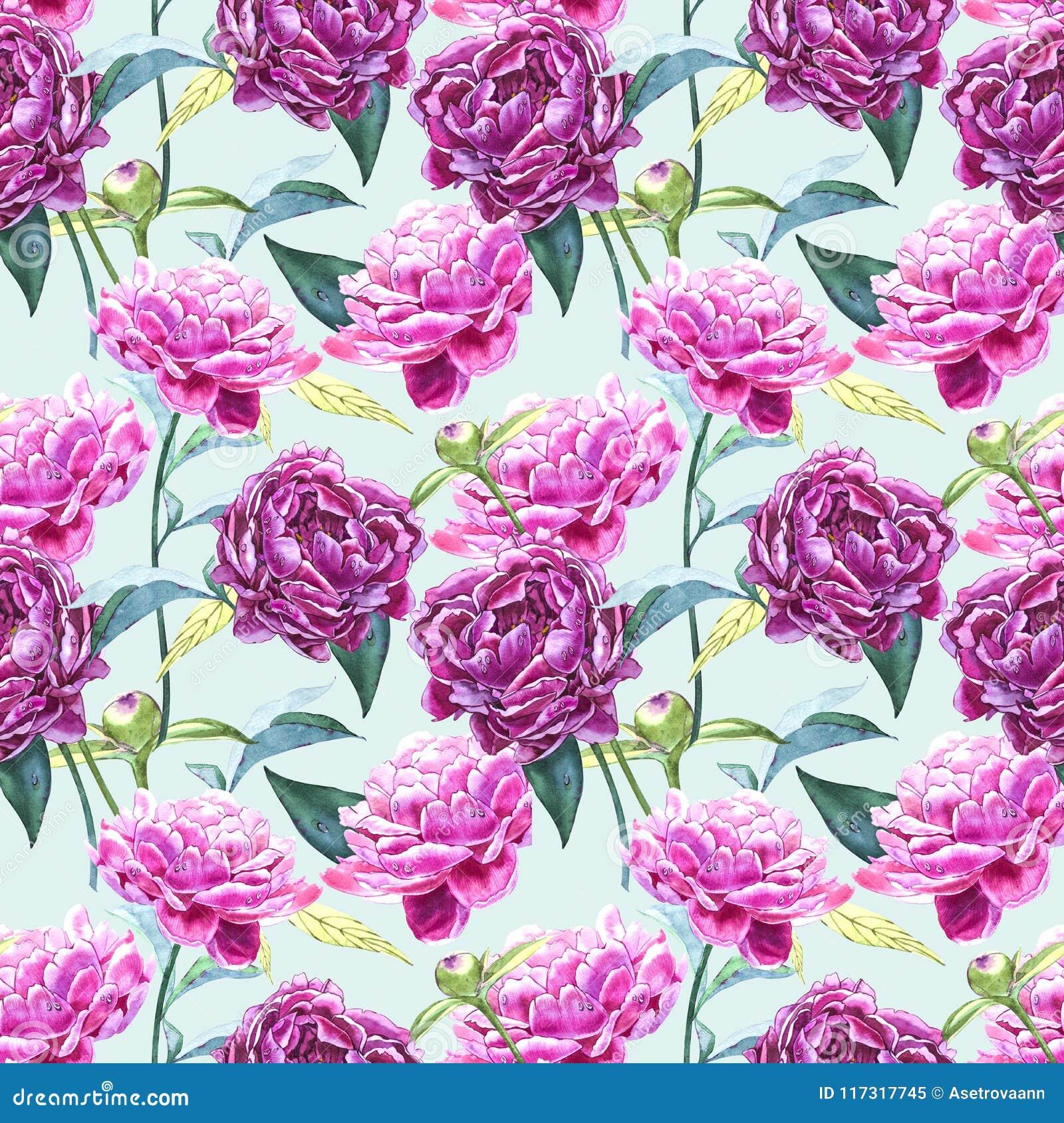 Naadloze achtergrond met pioenbloemen De illustratie van de waterverf Grafisch hand getrokken bloemenpatroon Textielstof