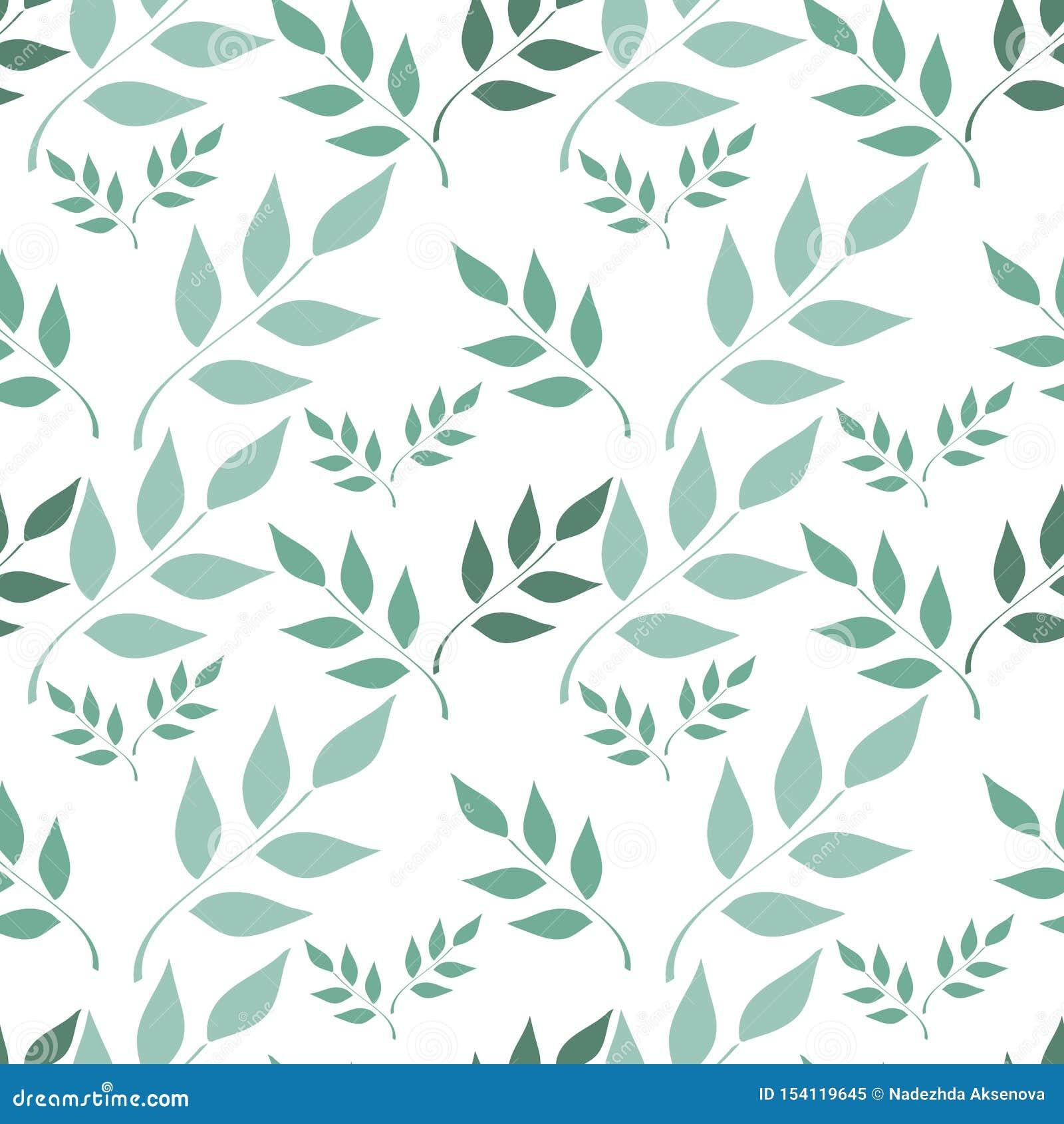 Naadloze achtergrond, takken met bladeren op witte achtergrond