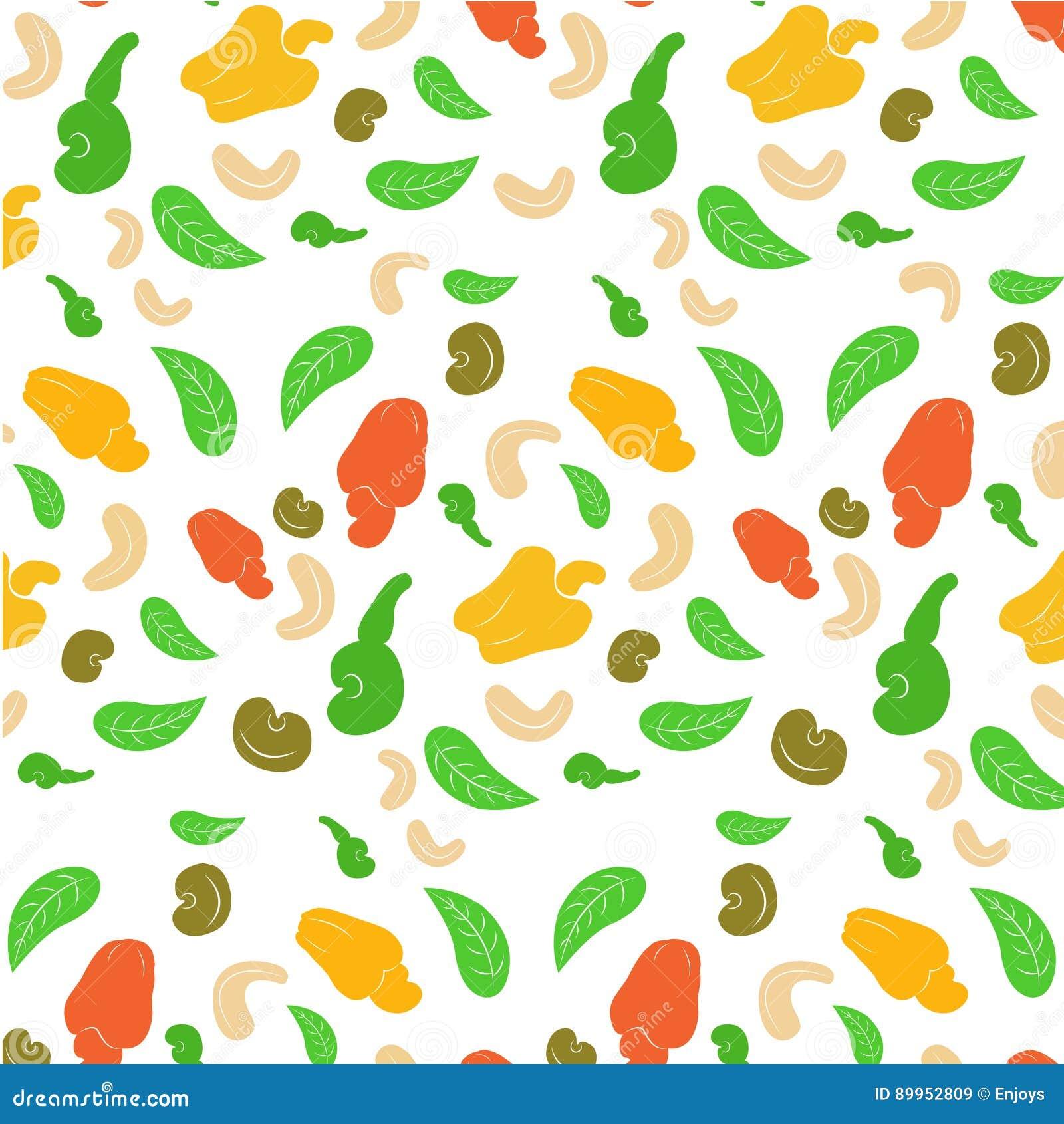Naadloze achtergrond van een cashewnoot De geschilde helft en de bladeren van de okkernoten gehele cachou op een witte achtergron