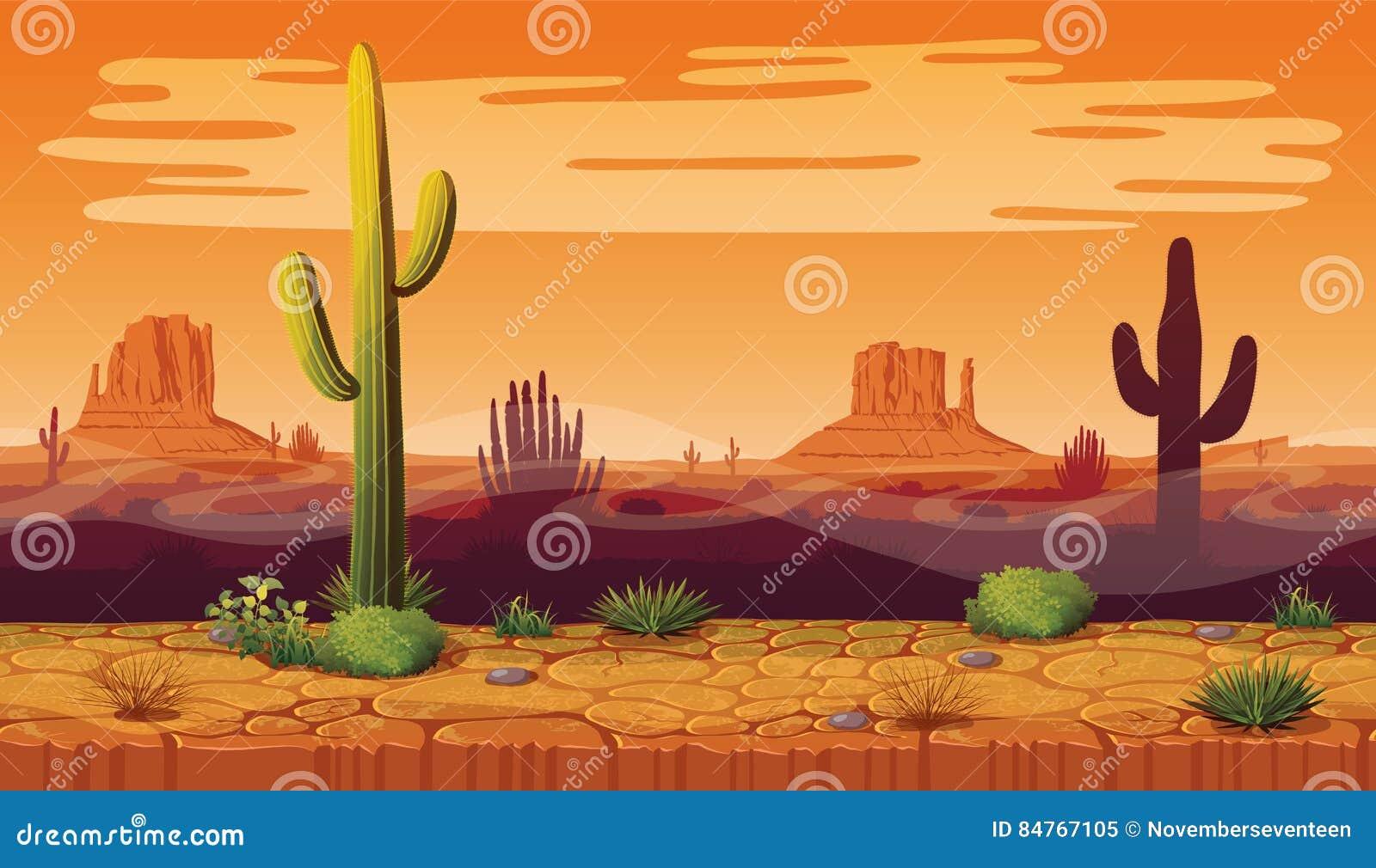 Naadloze achtergrond van landschap met woestijn en cactus