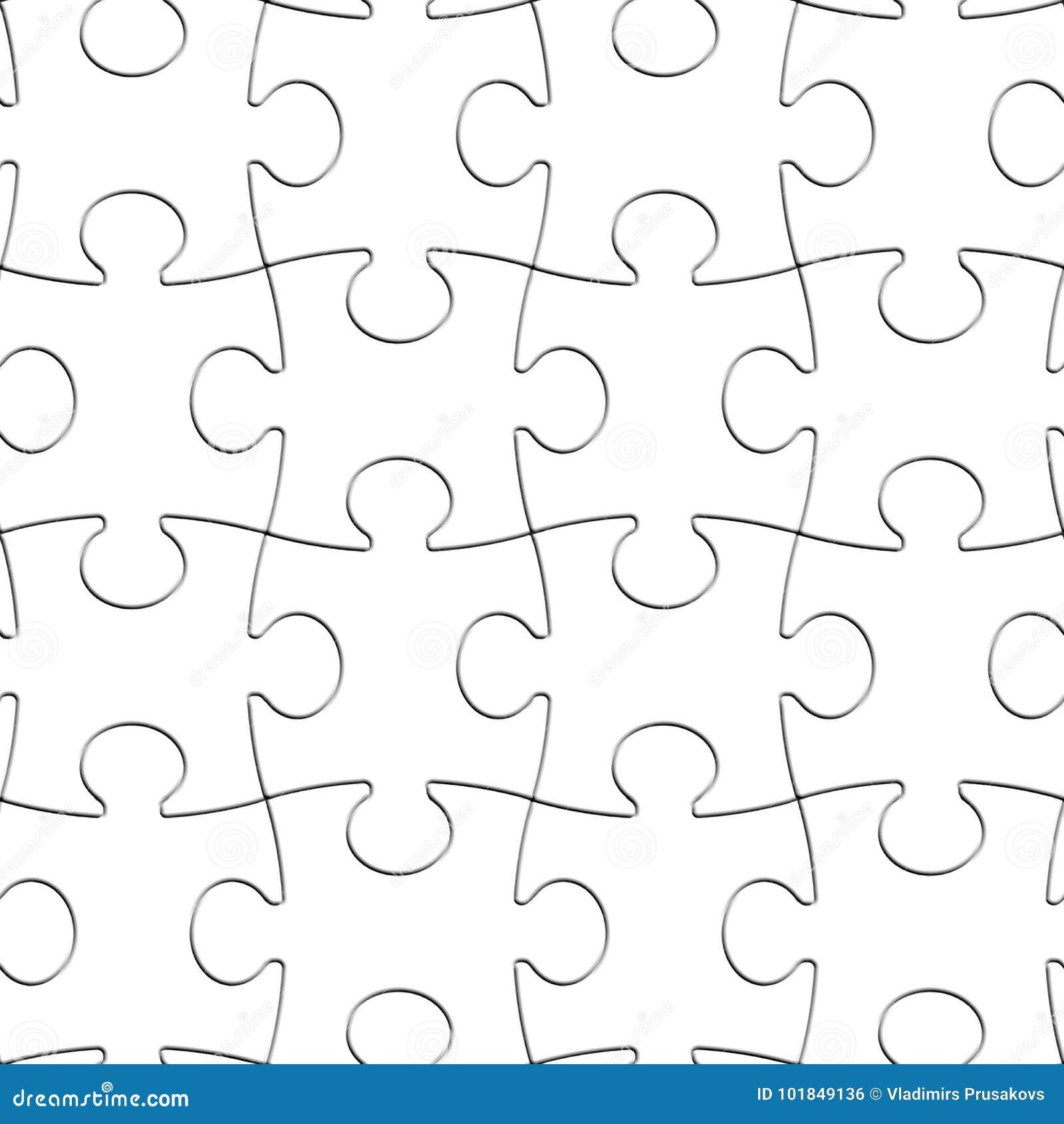 Naadloze Achtergrond van raadsel de Witte Stukken, Leeg Figuurzaagpatroon
