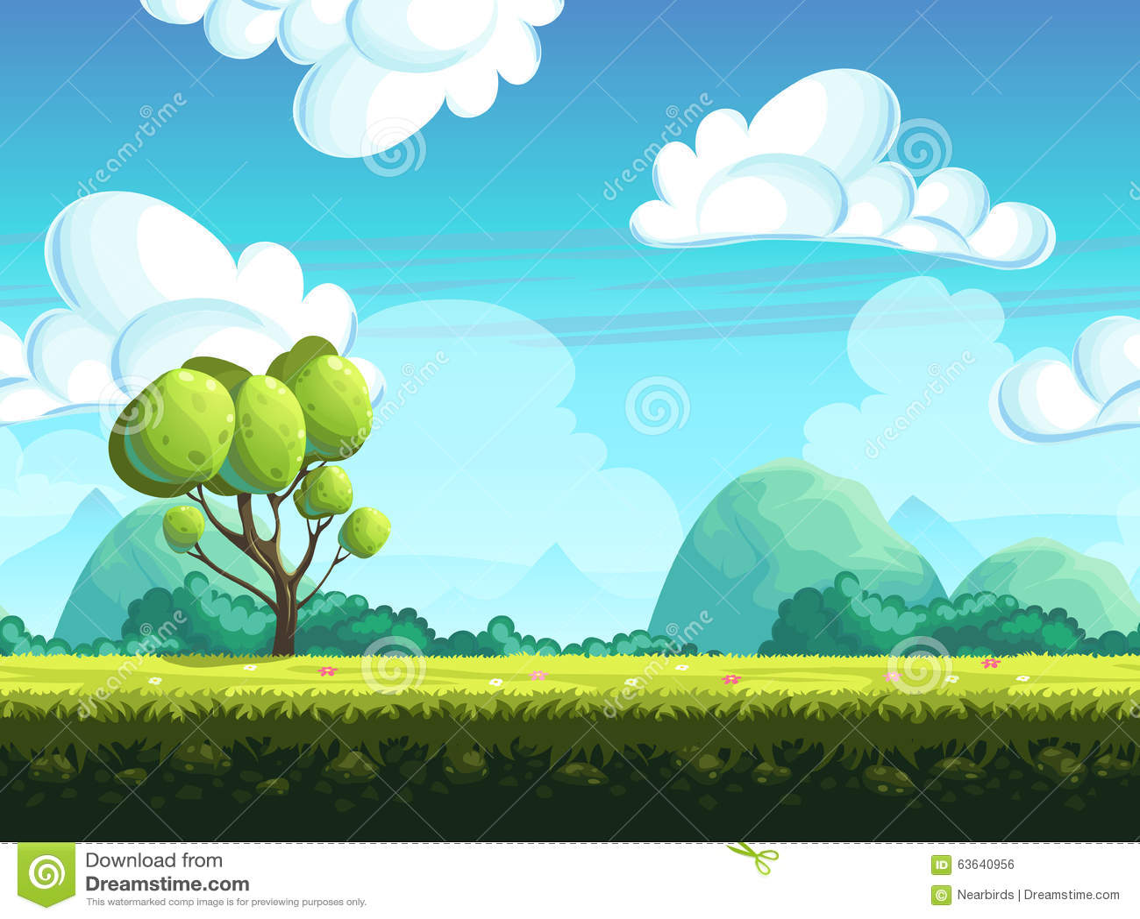 Naadloze bomen en stenen als achtergrond van de heuvels
