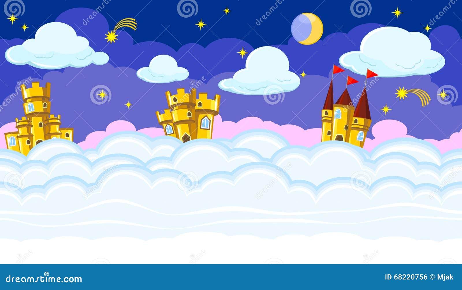Naadloze editable nacht cloudscape met gouden kastelen voor spelontwerp